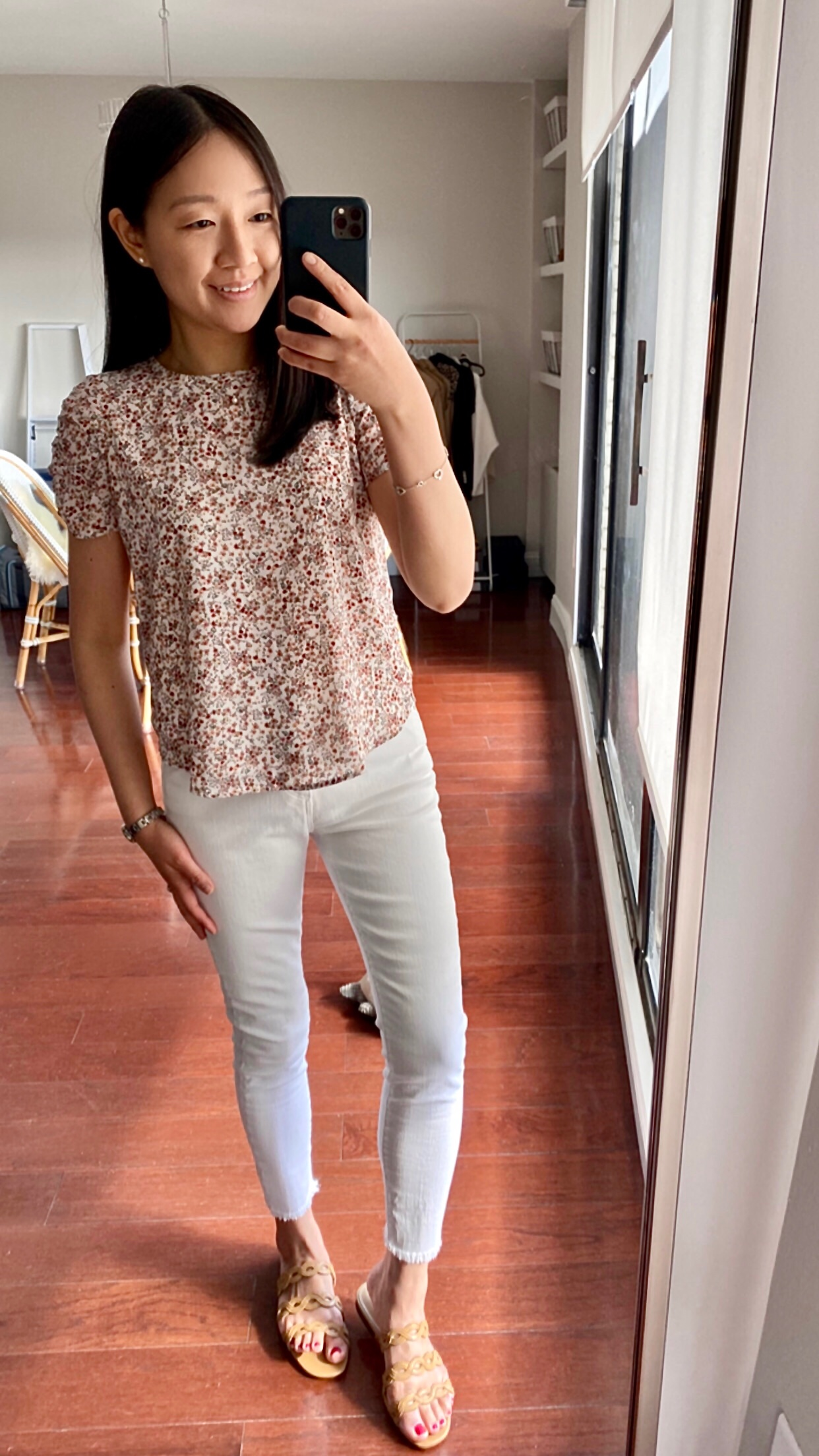LOFT Floral Cinched Puff Sleeve Top, size XSP