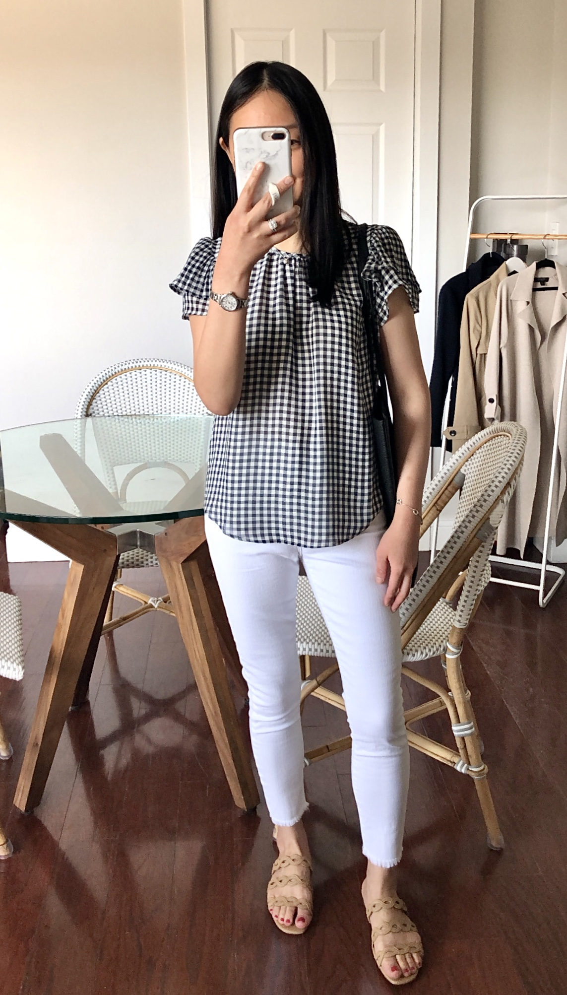 Ann Taylor Gingham Pleated Flutter Sleeve Top, size XSP