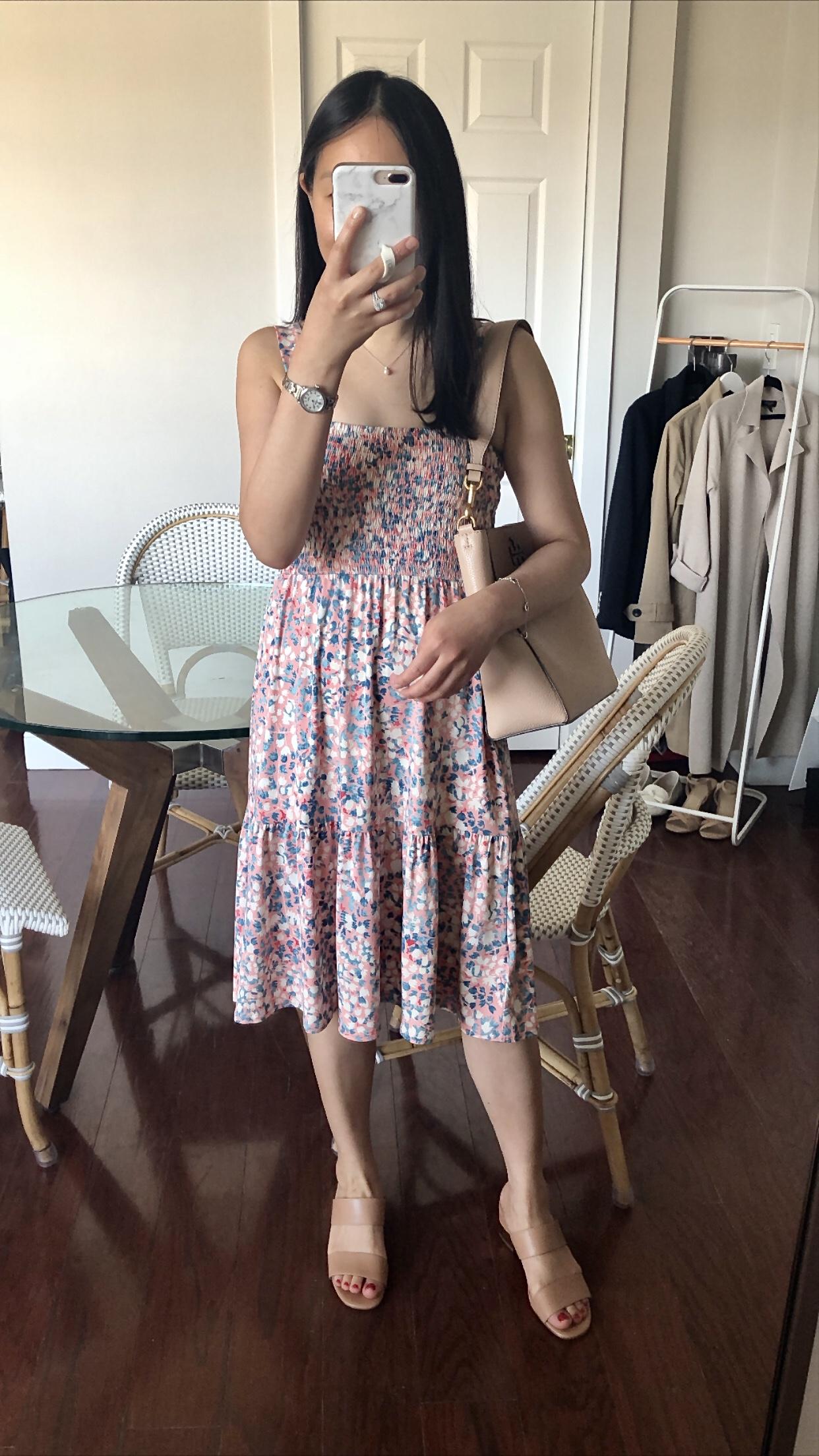 LOFT Wildflower Smocked Strappy Dress, size XXS regular