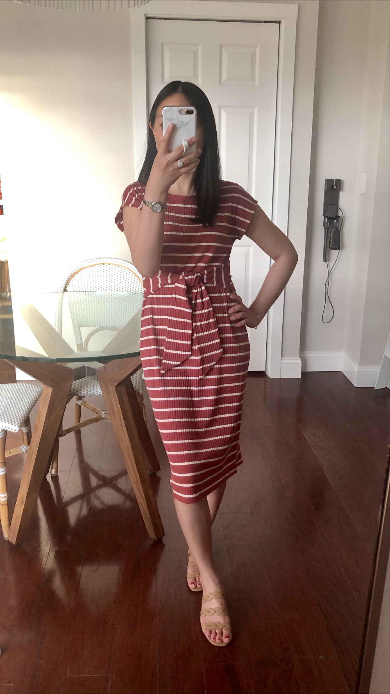 LOFT Stripe Ribbed Belted Midi Dress, size XSP