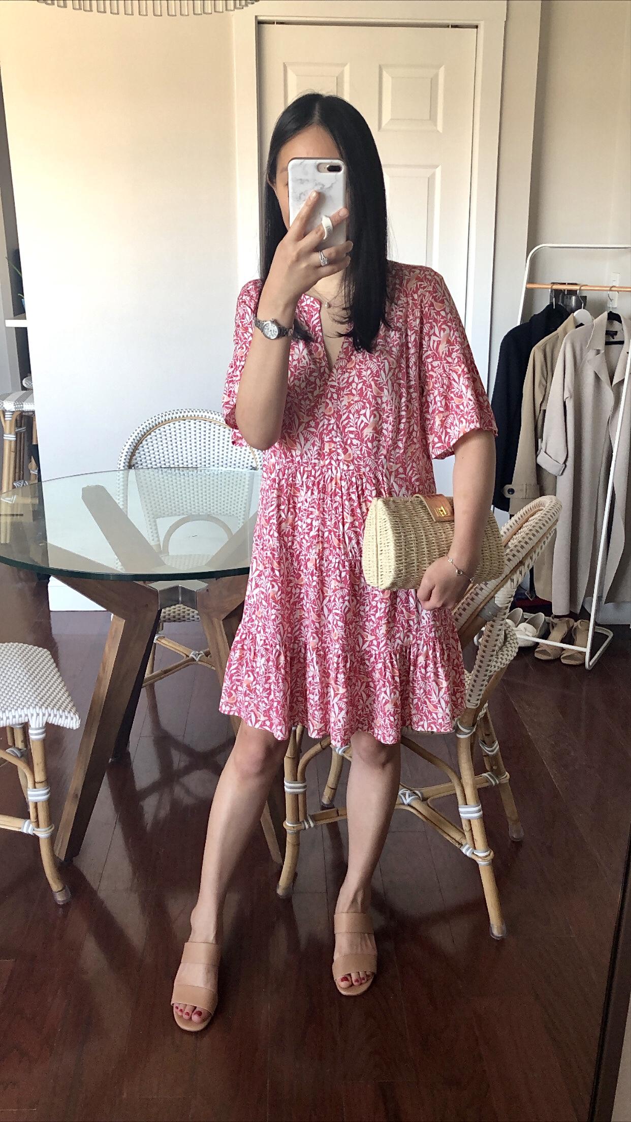 LOFT Bird Tiered Dress, size XSP