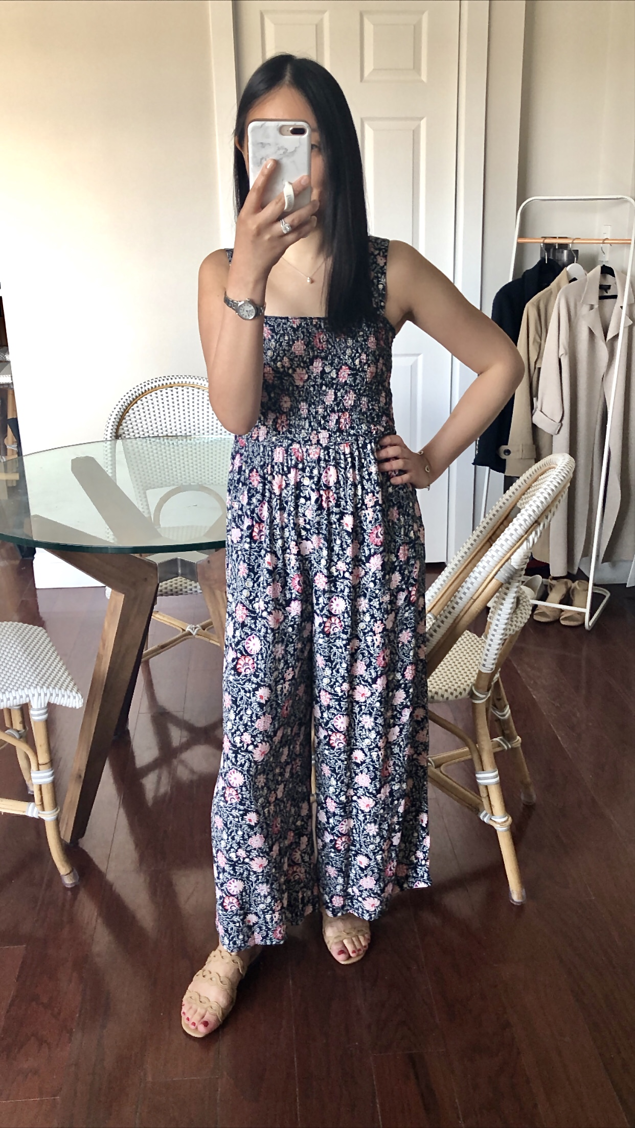 LOFT Floral Smocked Jumpsuit, size XXS regular