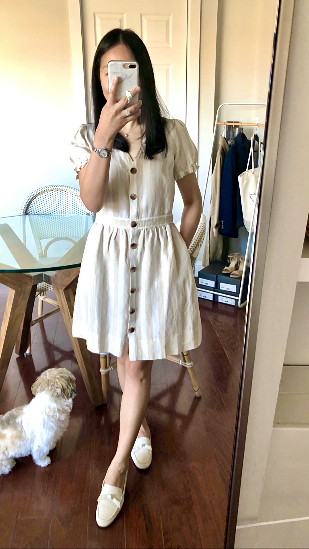 LOFT Striped Puff Sleeve Pocket Shirtdress, size 2P