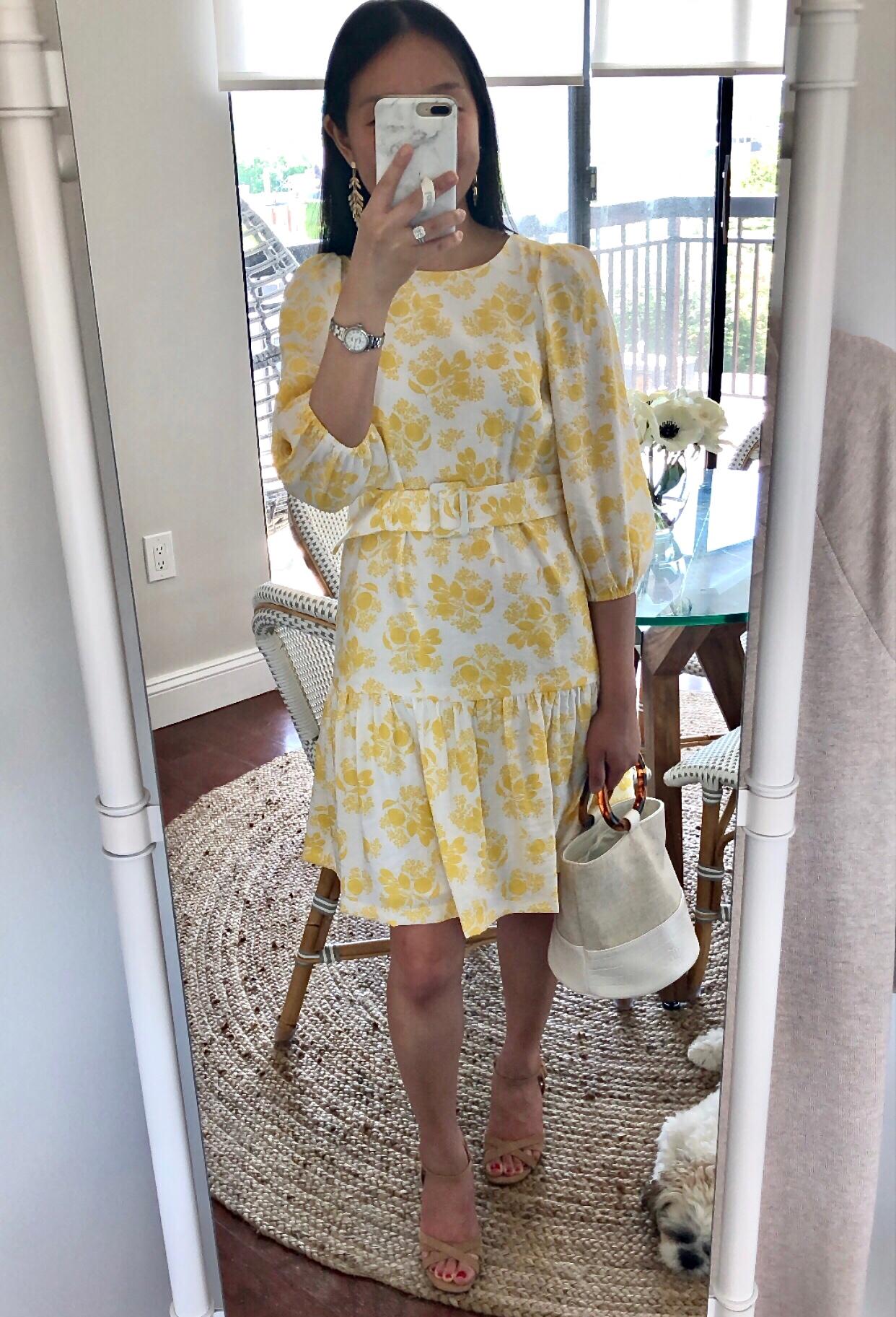 Ann Taylor Citrus Blossom Belted Flounce Shift Dress, size 00 regular