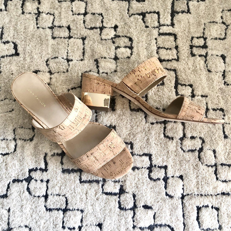 c/o Ann Taylor Liv Cork Block Heel Sandals