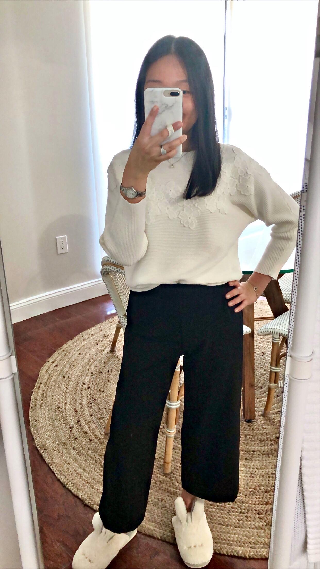 Ann Taylor Floral Applique Sweater, size XXSP