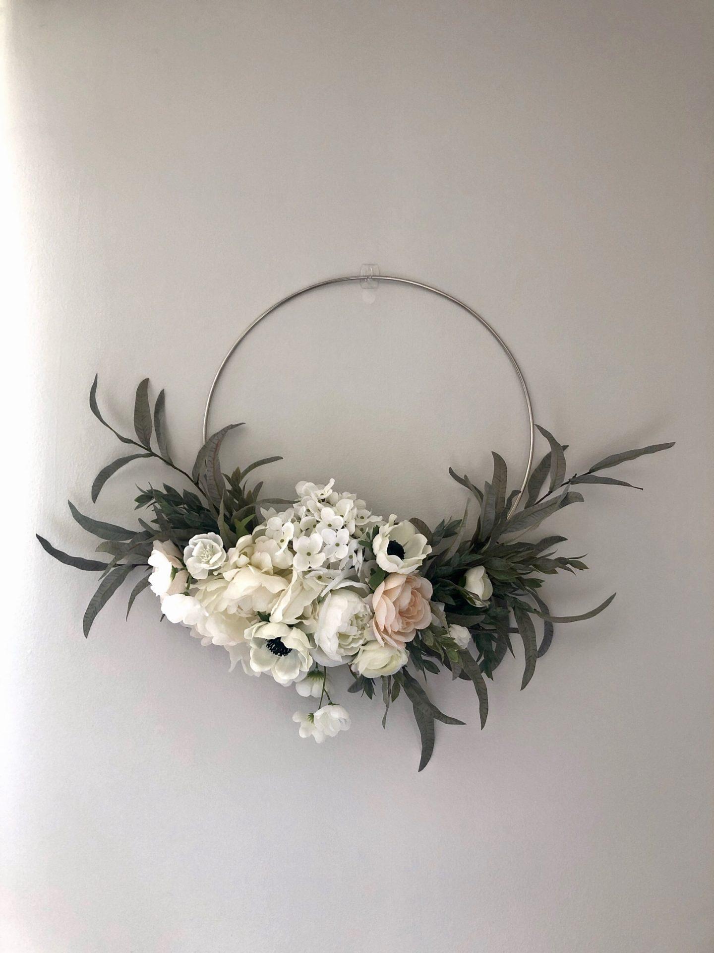 Modern Spring white peony & anemone wreath