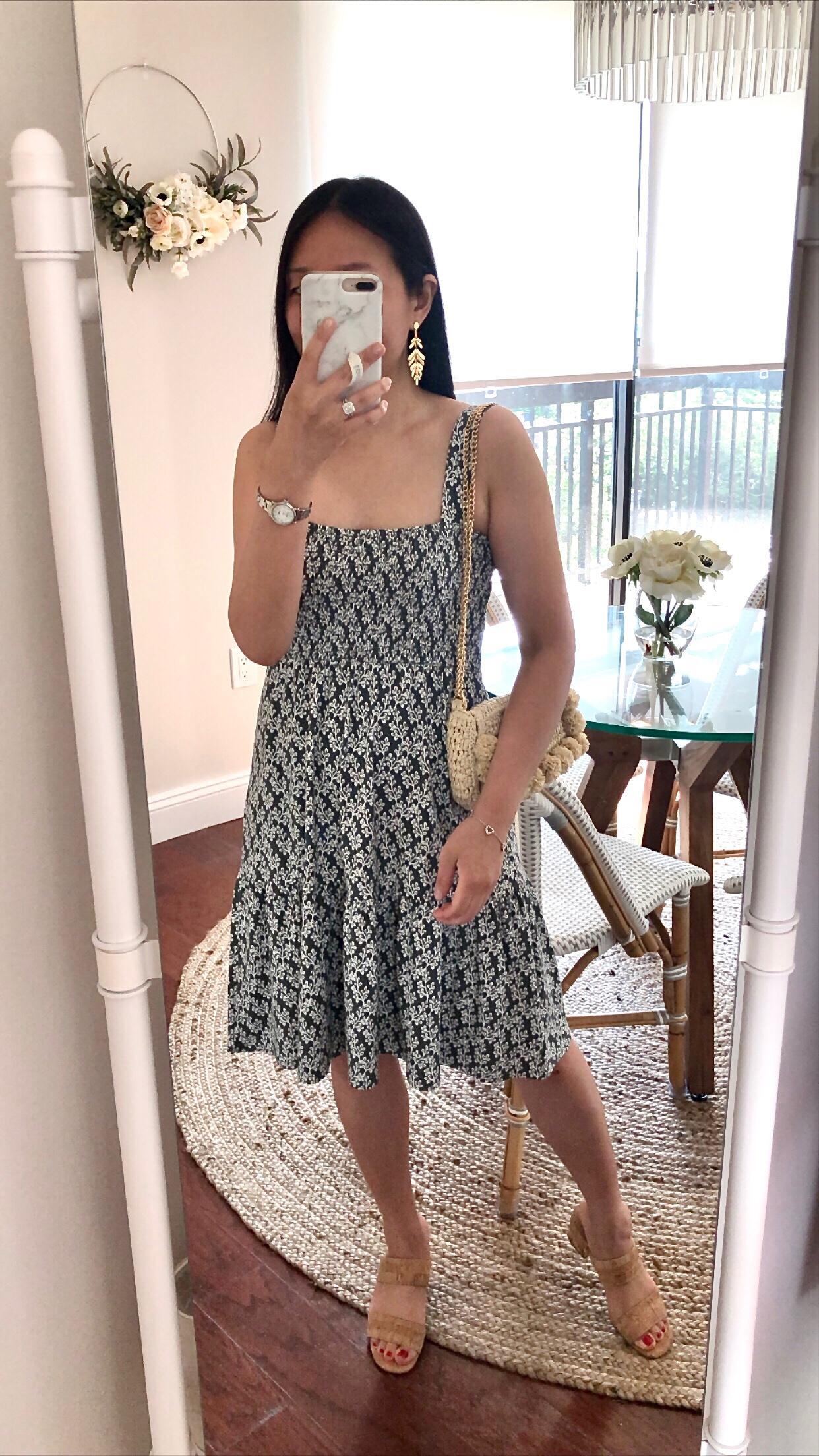LOFT Floral Smocked Tiered Flare Dress, size SP