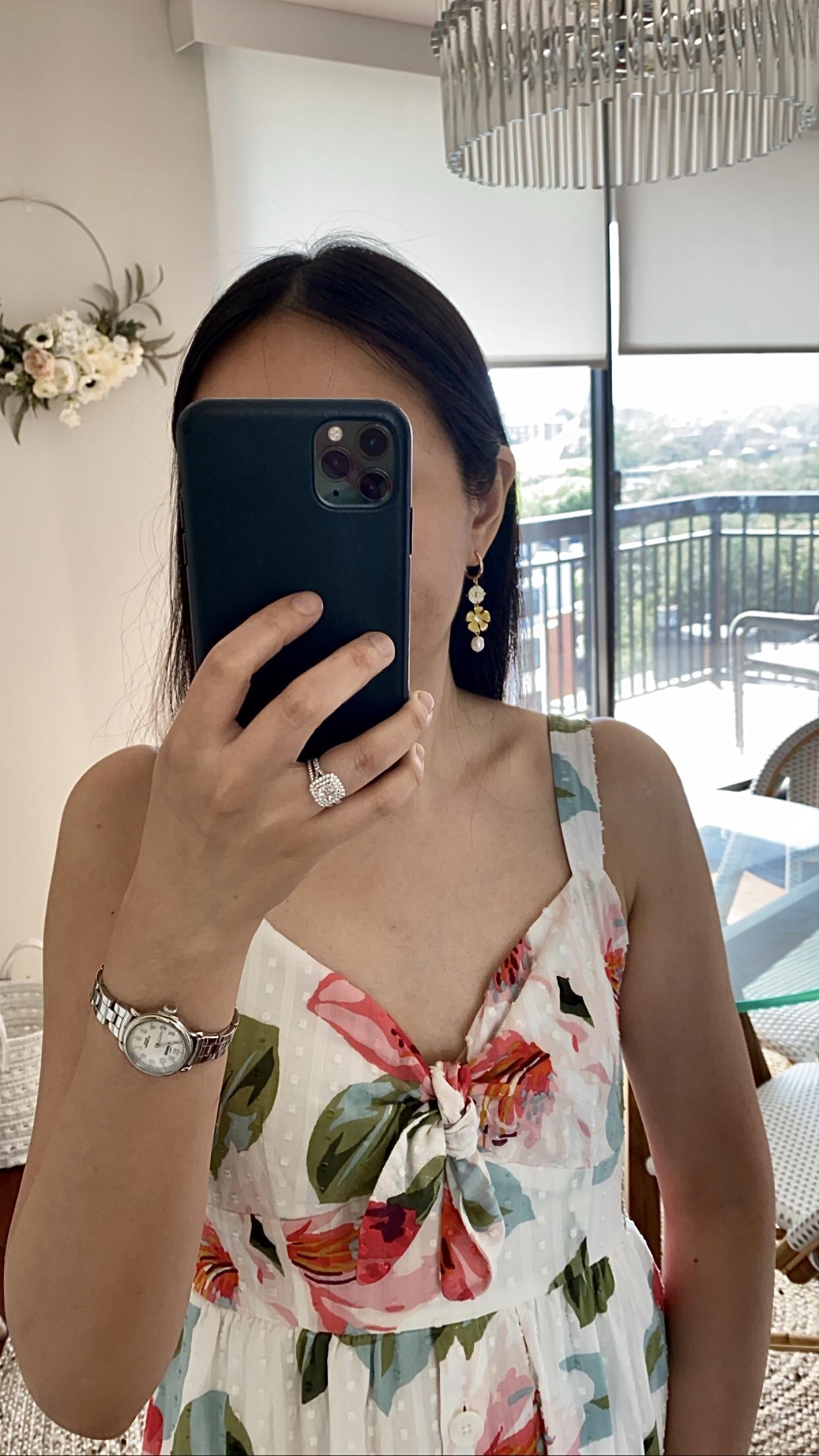 Ann Taylor Pearlized Flower Drop Earrings