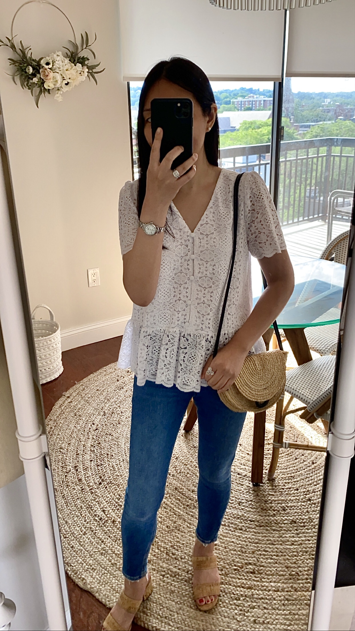 LOFT Lace Button Peplum Top, size XXS regular