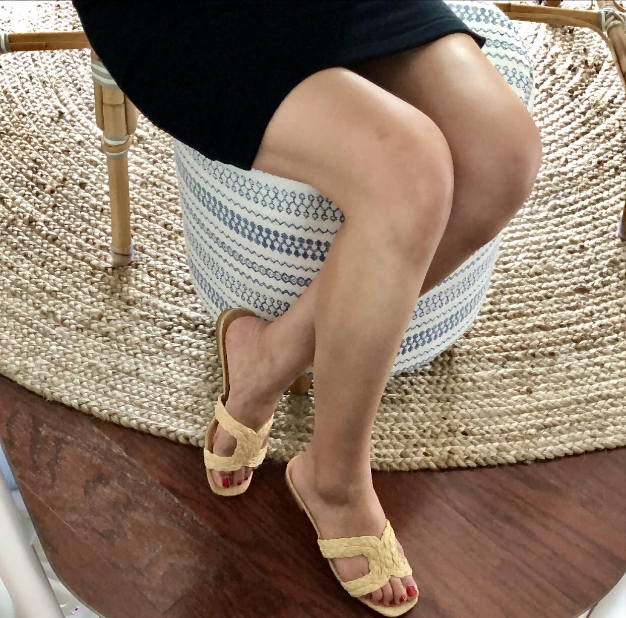 Express Square Raffia Slide Sandals