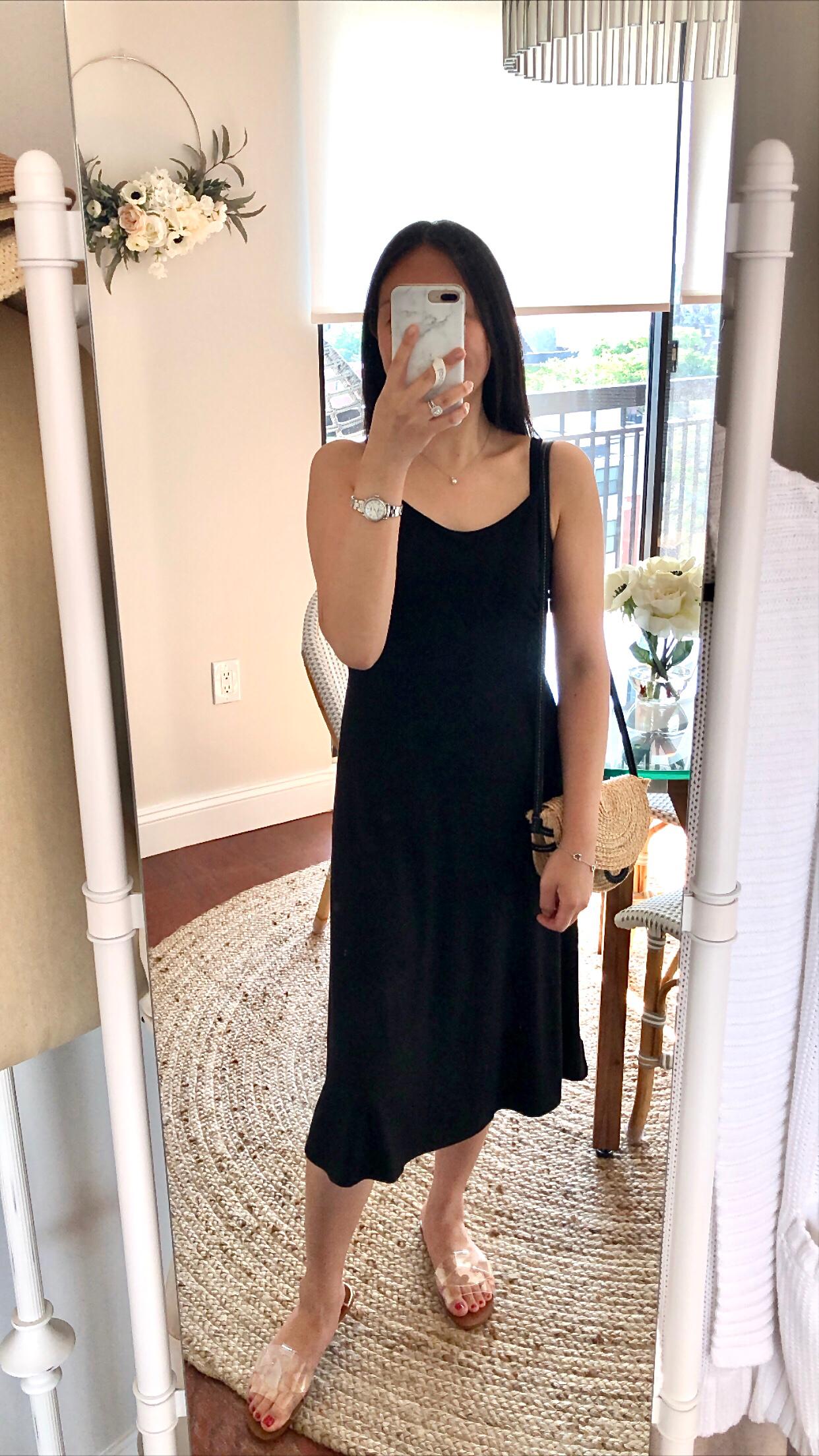 LOFT Smocked Back Strappy Midi Dress, size 0P