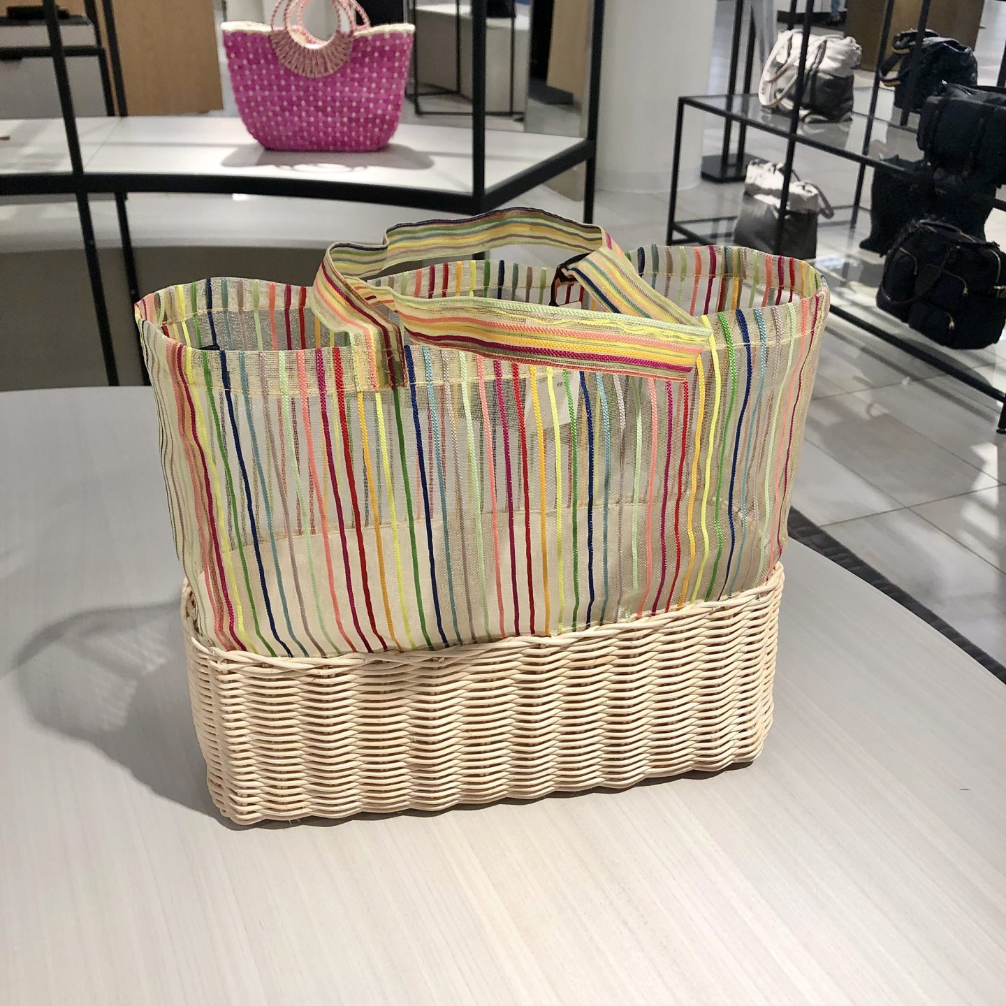 Halogen x Atlantic-Pacific Wicker & Mesh Tote