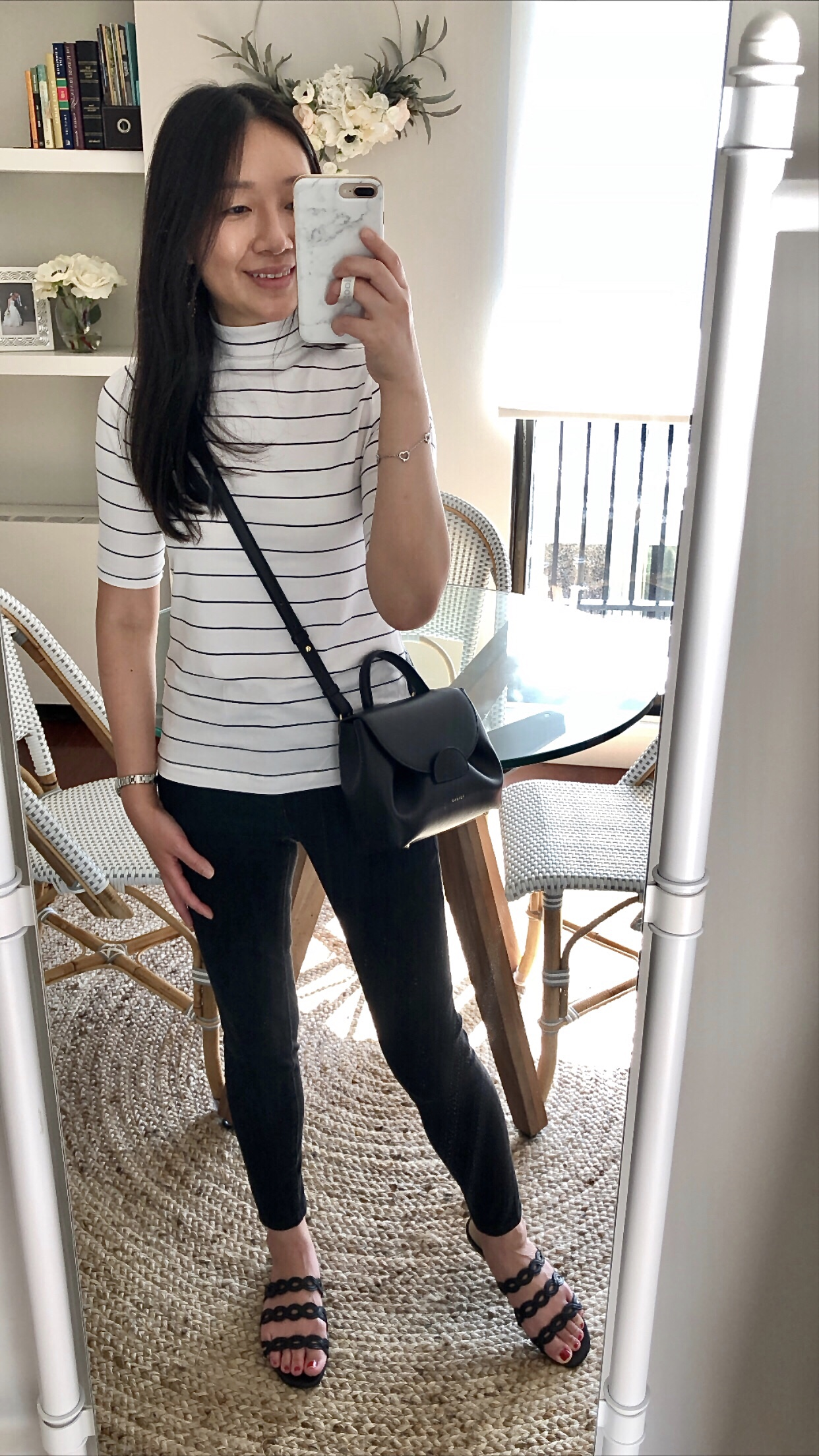 Banana Republic Factory Striped Timeless Mock-Neck Tee, size XXS