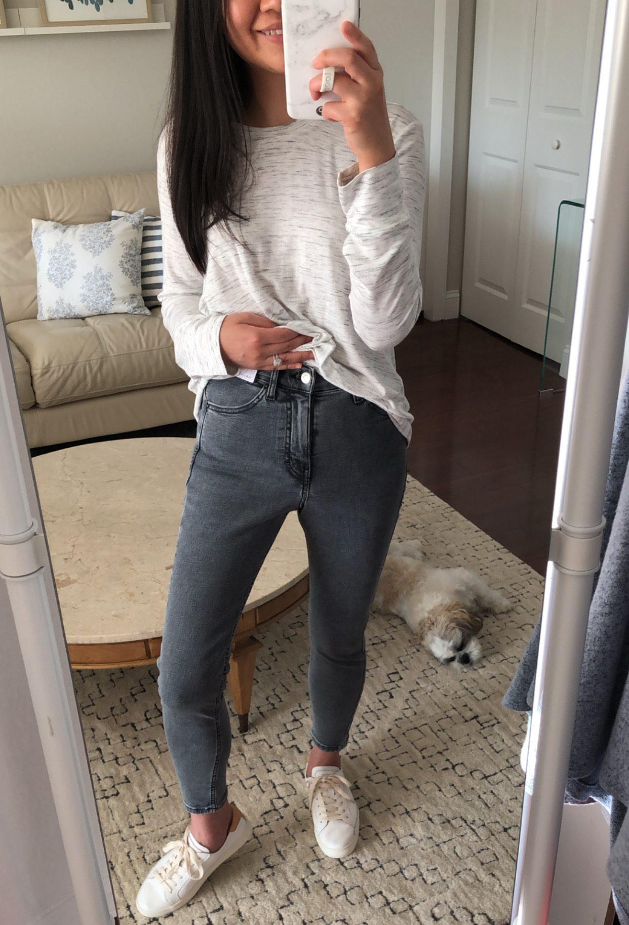 Topshop New Grey Jamie High Waist Crop Skinny Jeans, size 26W x 28L Petite