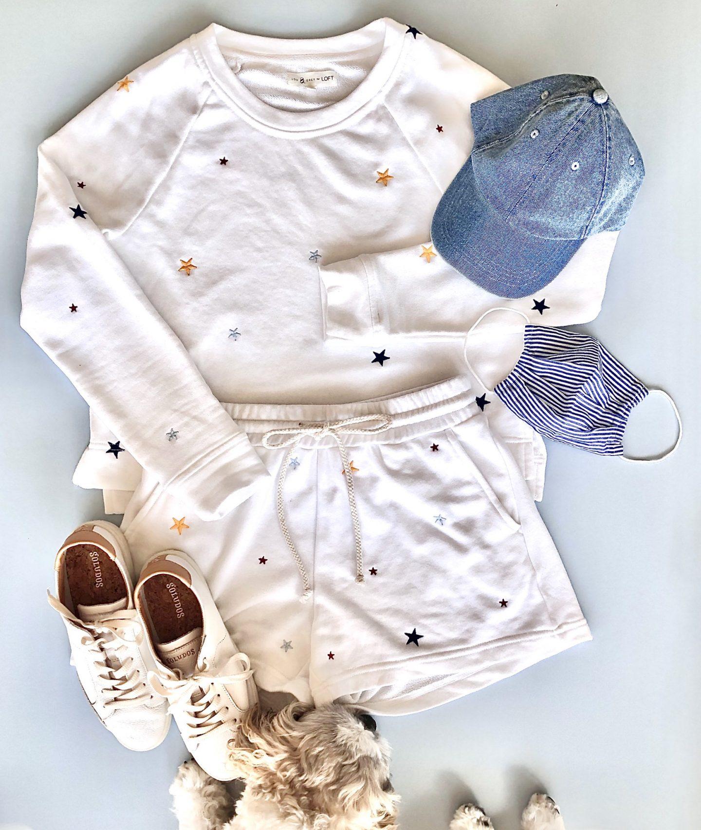 Lou & Grey Star Terry Sweatshirt Set, size XS