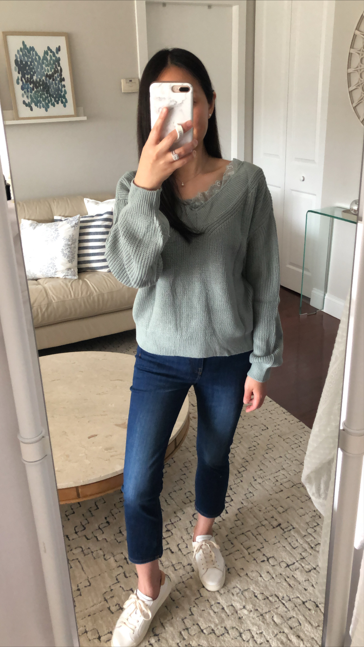 H&M Lace-Trimmed Sweater, size XS
