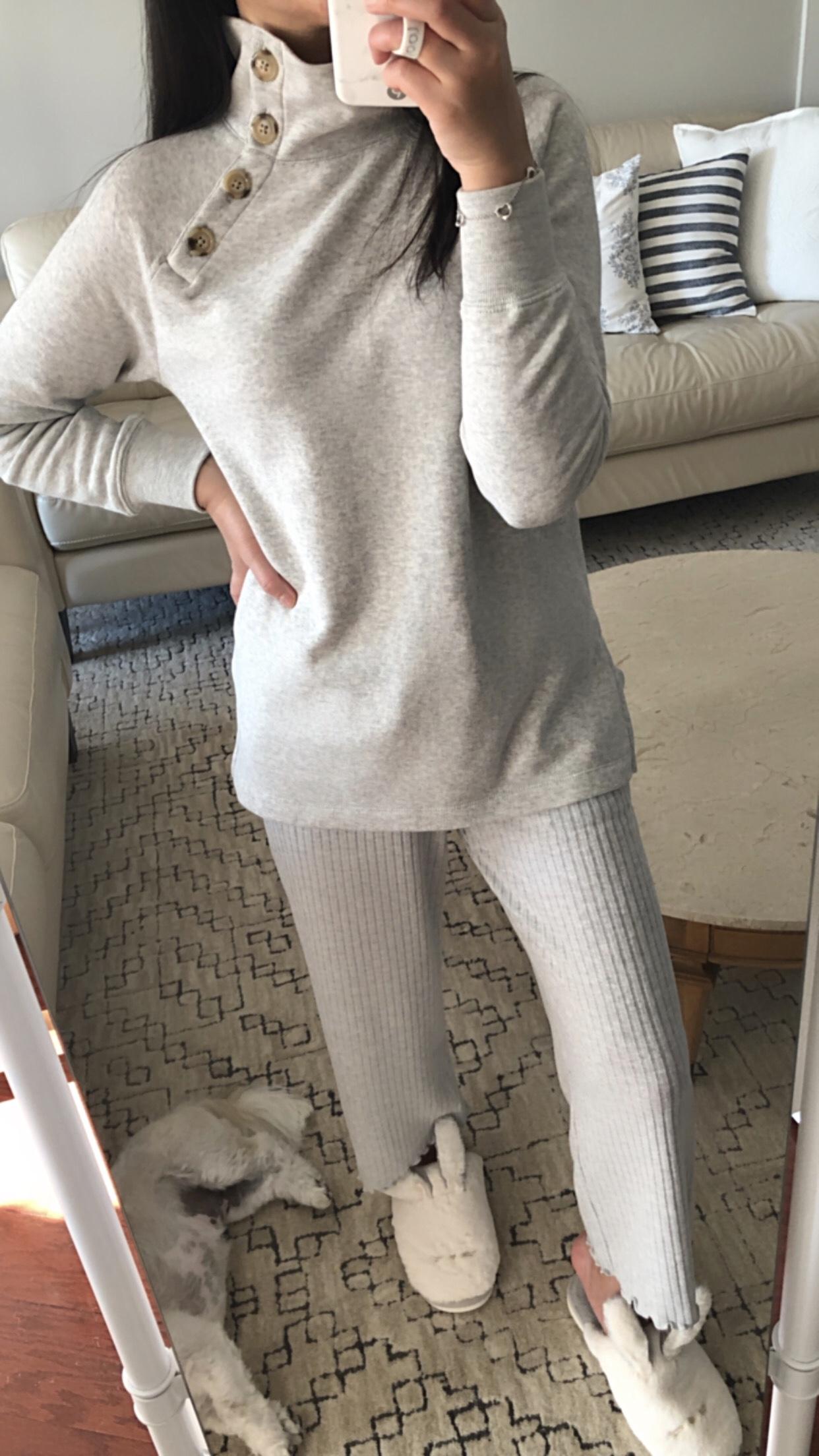 J.Crew Factory Wide Button-Collar Tunic Sweatshirt, size XXS