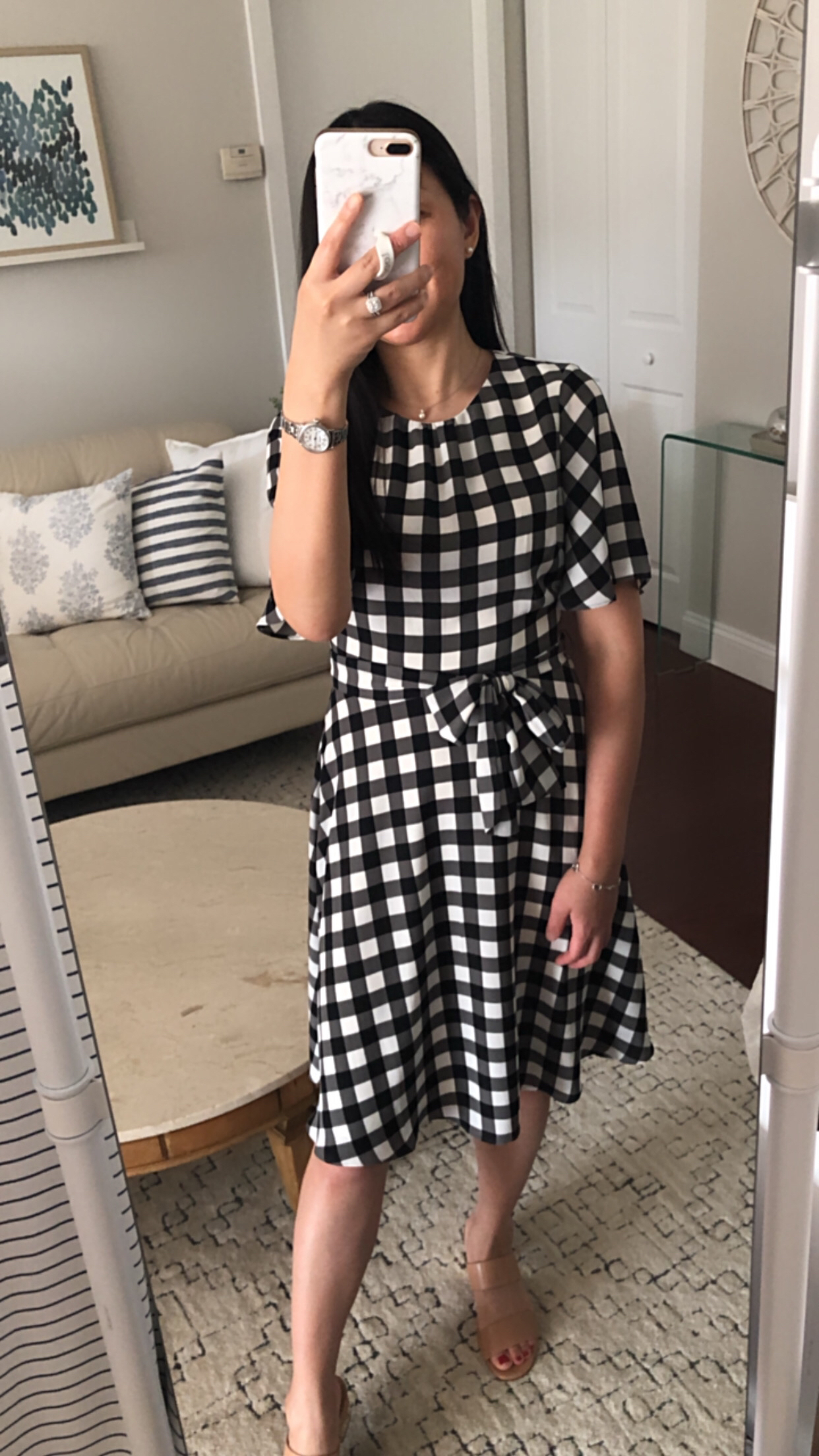 Banana Republic Factory Gingham Fit-And-Flare Dress, size 0