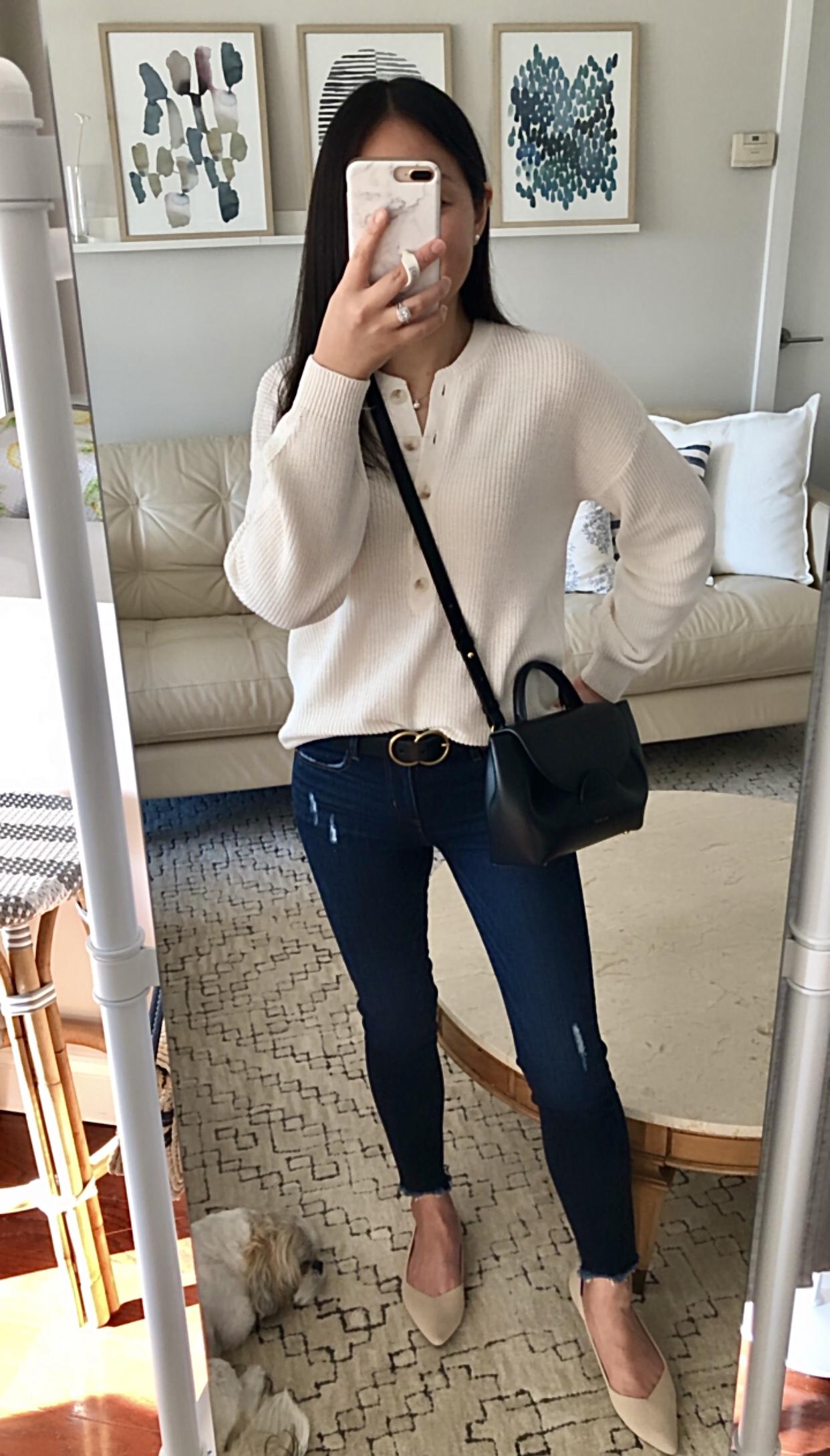 LOFT Ribbed Henley Sweater, size XS regular