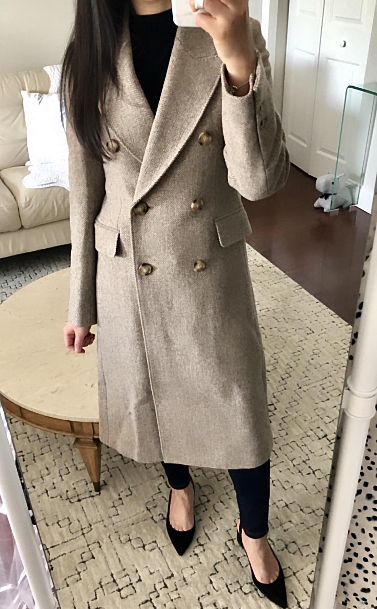 Ines de la Fressange Tweed Coat in beige, size XXS