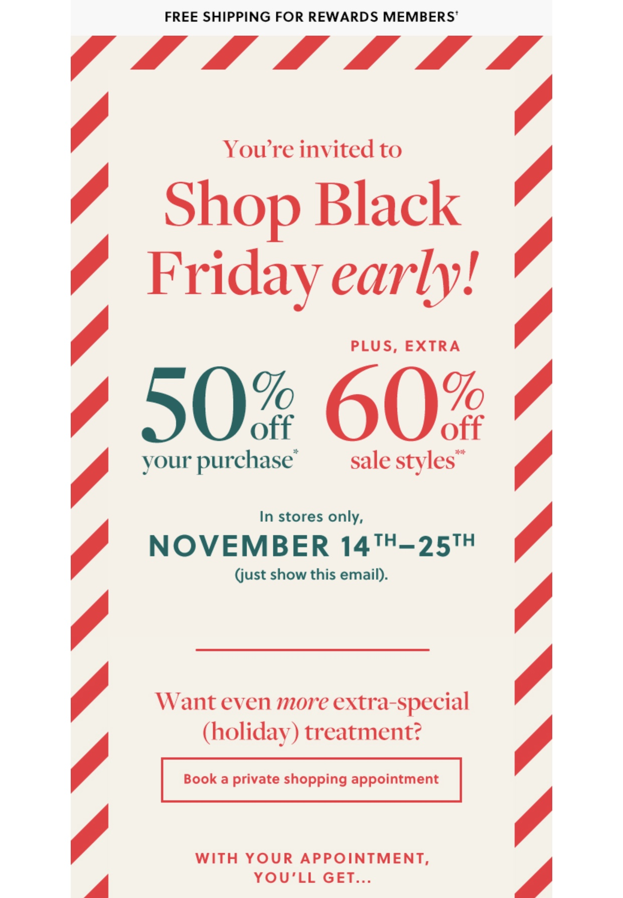 J.Crew Cardmember Early Black Friday Email Promo