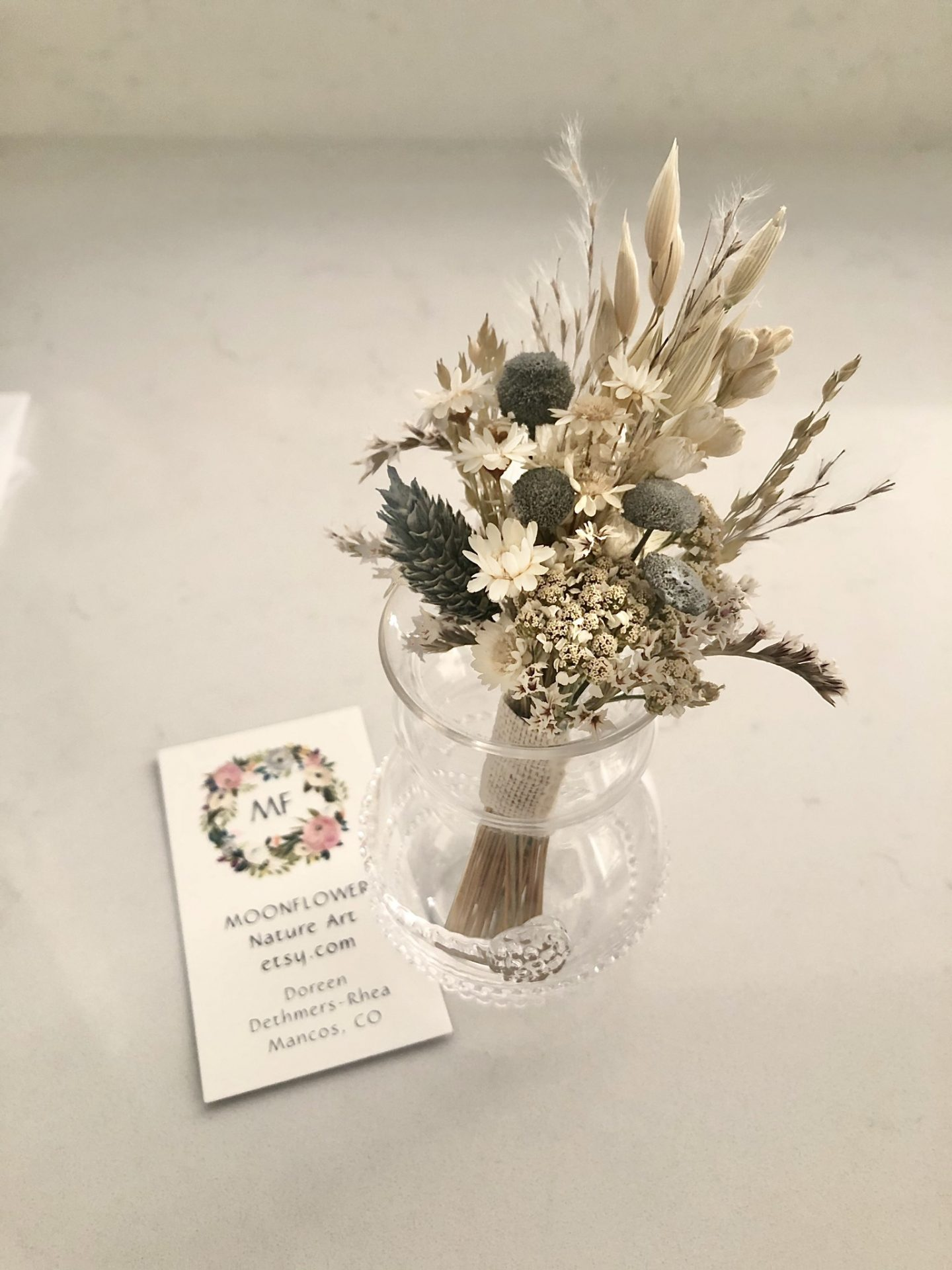 Rustic Neutral Dried Flower Boutonniere from Moonflower Nature Art in a Juliska bud vase