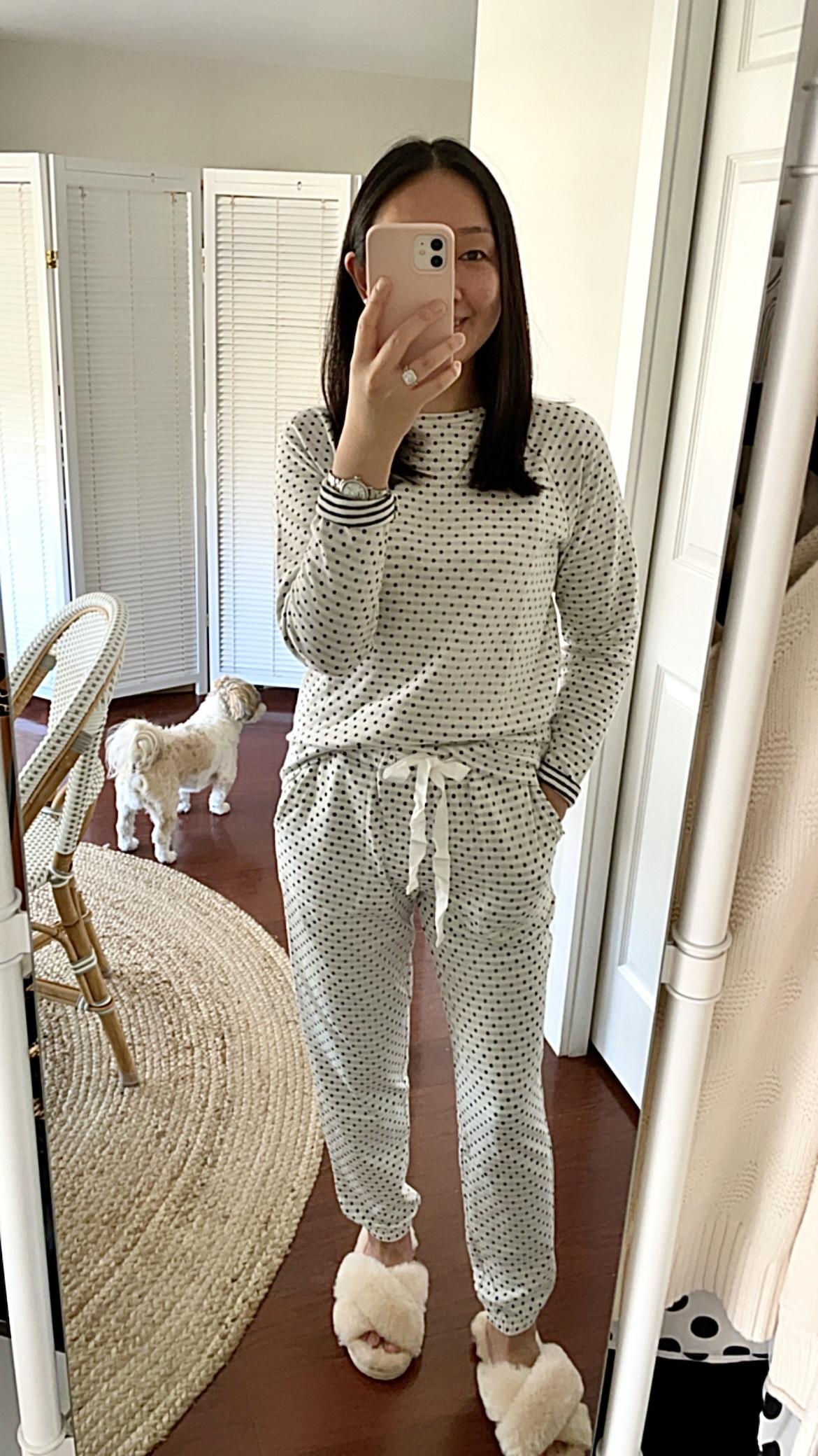 LOFT Dotted Cozy Pajama Joggers, size XXS regular