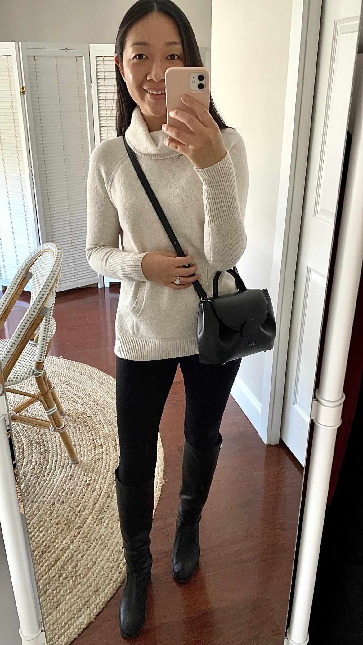 LOFT Cowl Neck Pocket Sweater, size XS regular