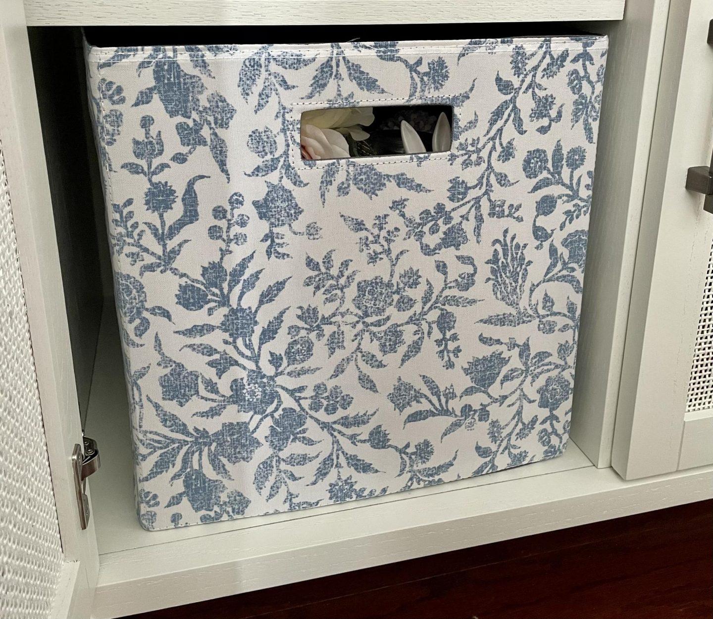 "Threshold 13"" Fabric Cube Storage Bin Soft Blue Floral Pattern"