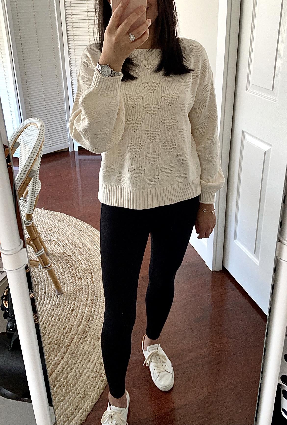 LOFT Heart Boatneck Sweater, size XS regular