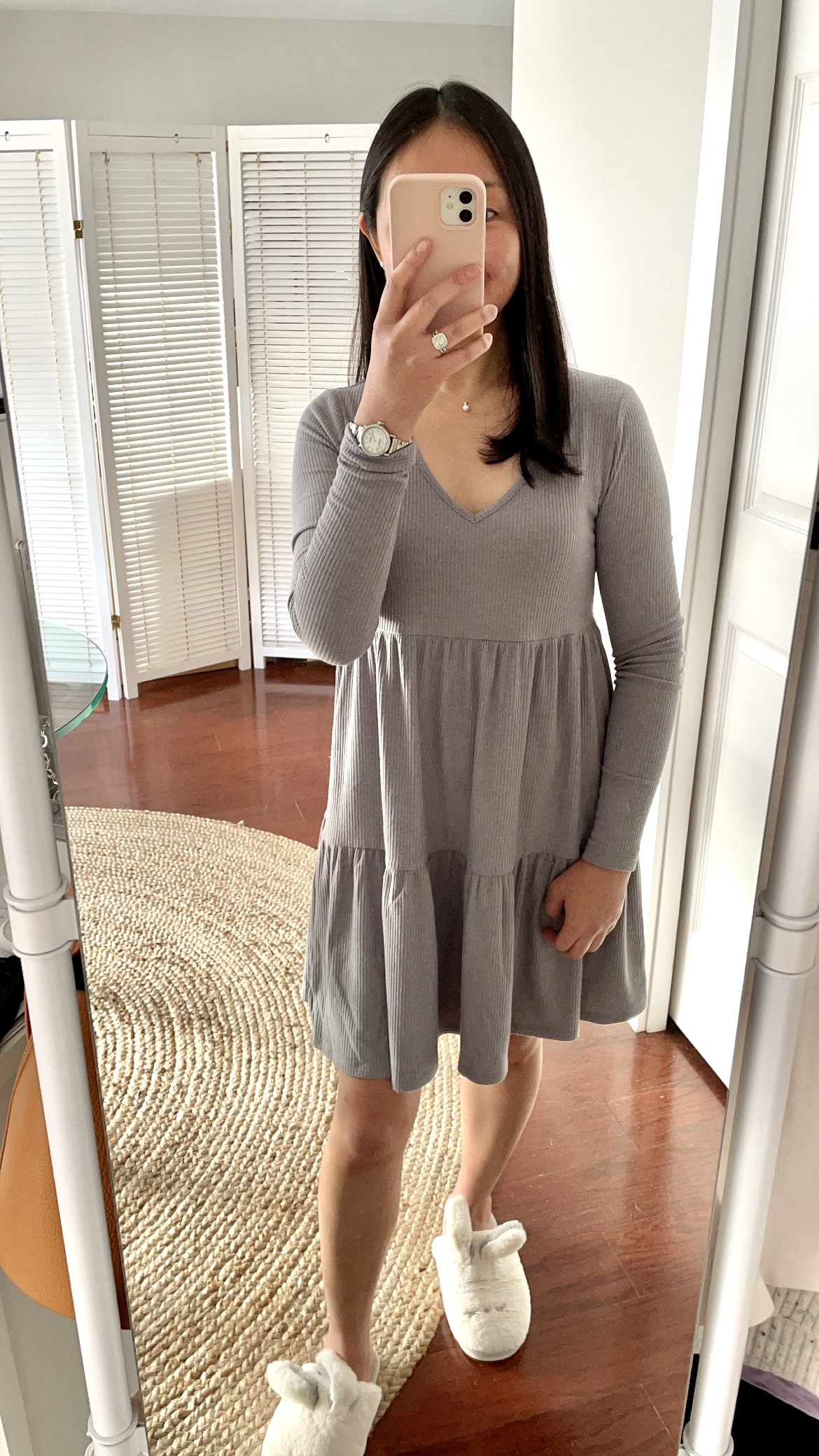 Wild Fable Long Sleeve Brushed Rib-Knit Tiered Dress, size S