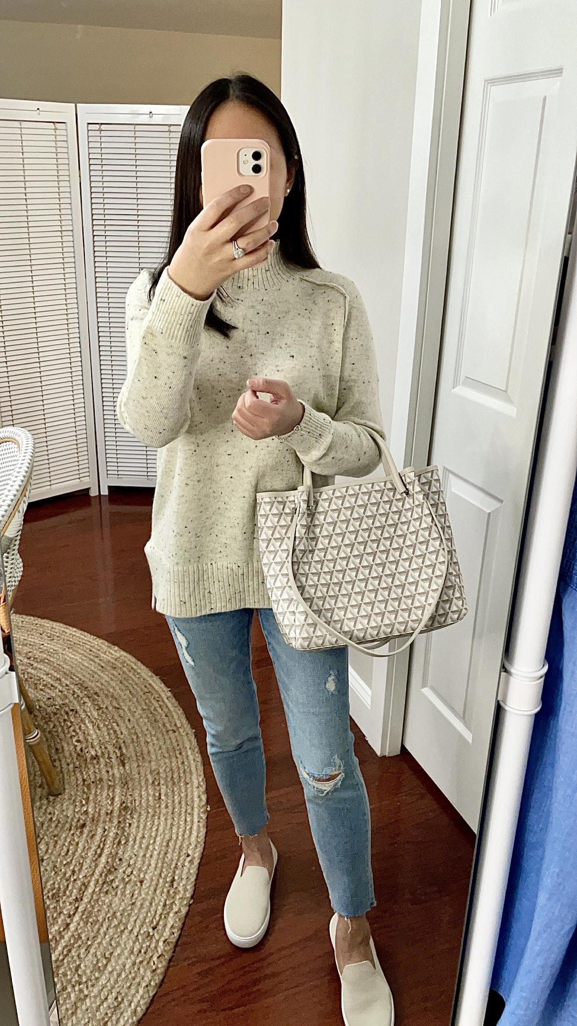LOFT Flecked Tunic Sweater, size XSP