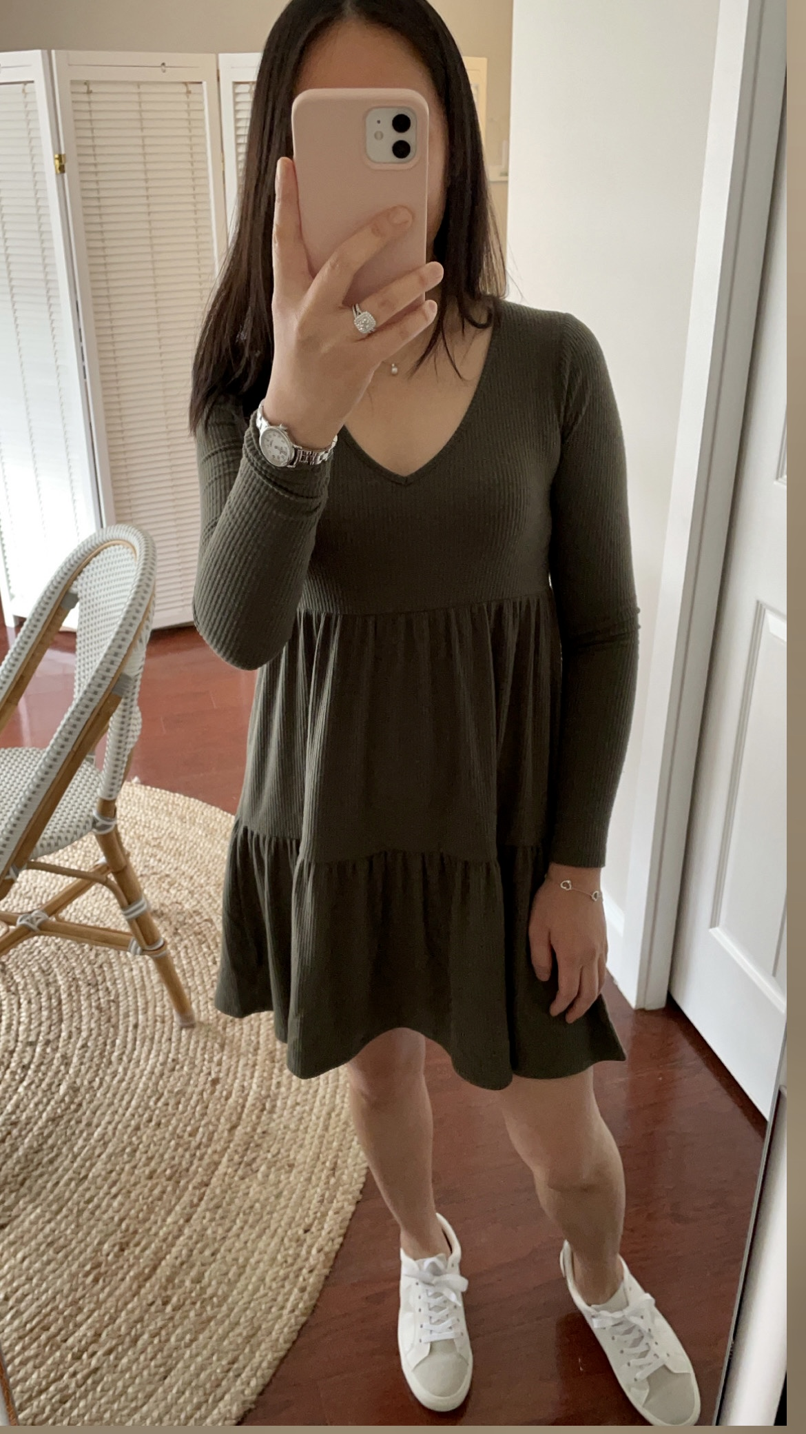 Wild Fable Long Sleeve Brushed Rib-Knit Tiered Dress, size XS