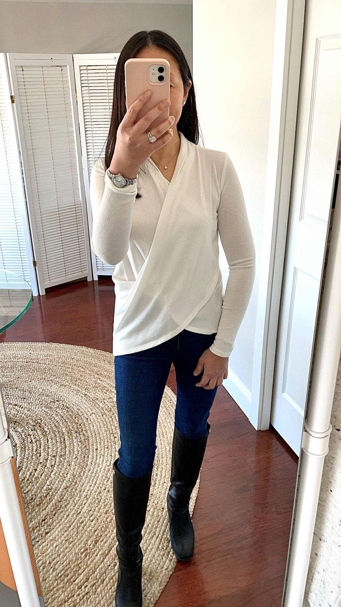1.STATE Cross Front Knit Top, size XXS