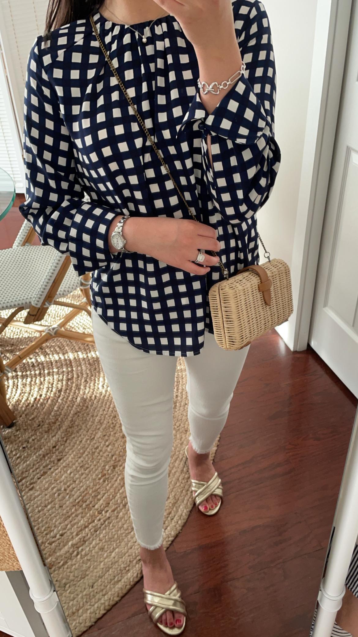 Ann Taylor Plaid Shirred Top, size XXS regular