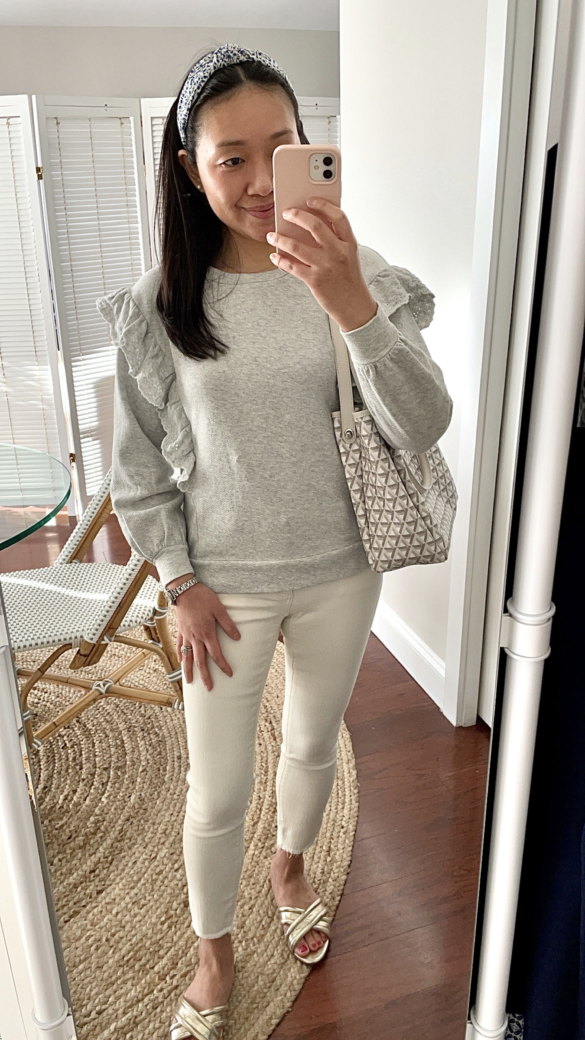 LOFT Embroidered Ruffle Sleeve Sweatshirt, size XSP