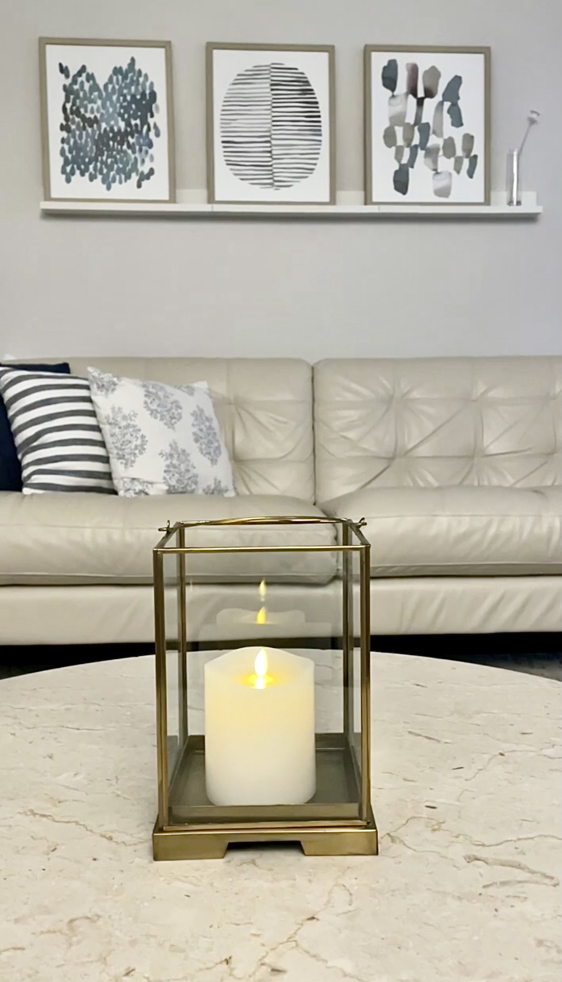 Flameless Candle and Glass Lantern With Removable Glass Cover