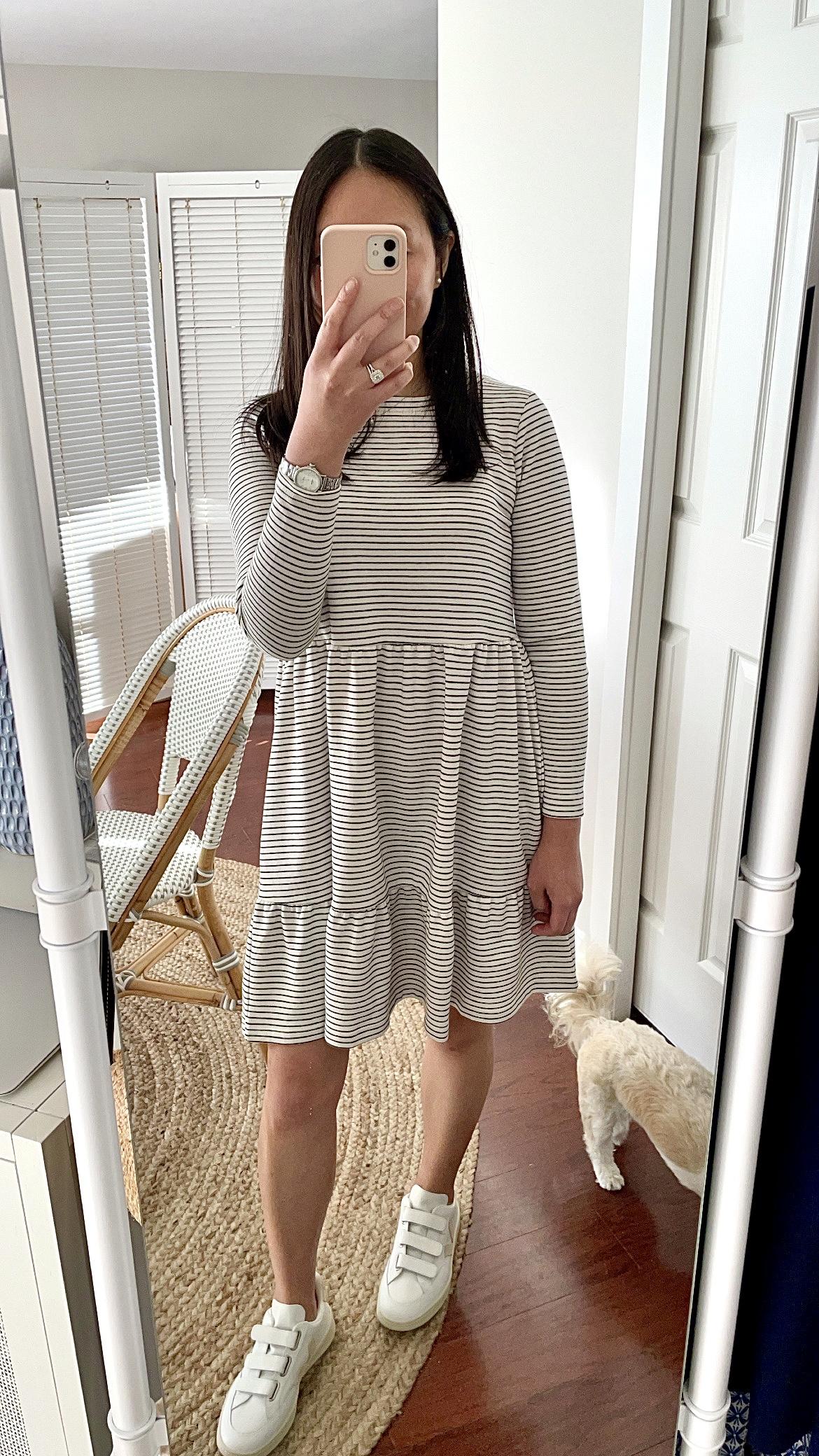 LOFT Striped Tiered Swing Dress, size XSP