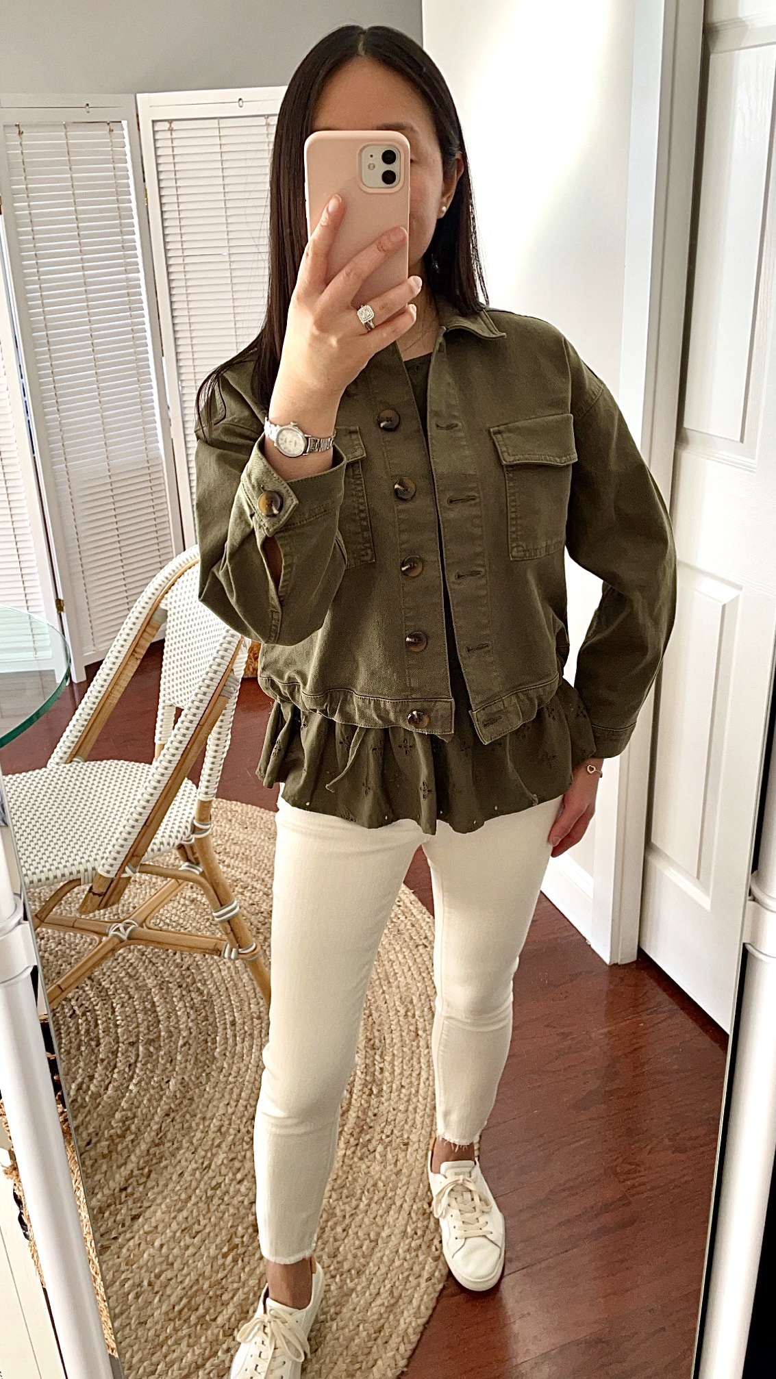 LOFT Drawstring Hem Denim Jacket, size XXSP