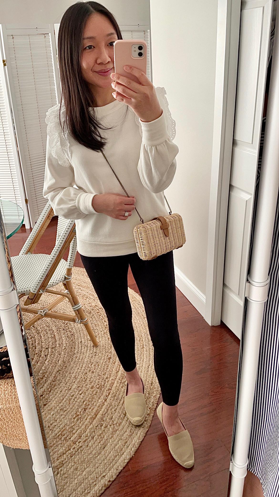 Ann Taylor Eyelet Ruffle Sweatshirt, size XXS regular