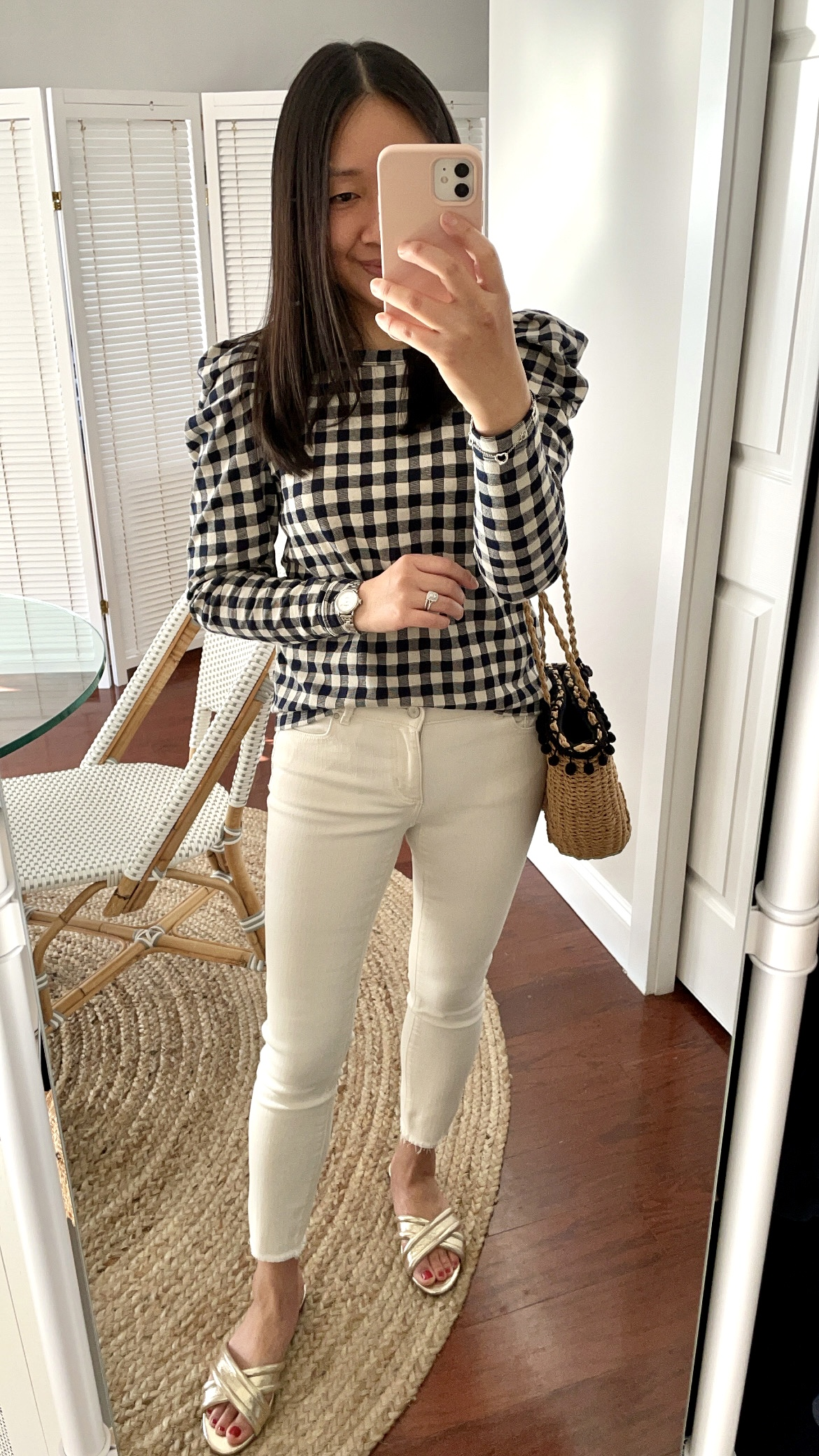 LOFT Gingham Pleated Puff Sleeve Top, size XSP
