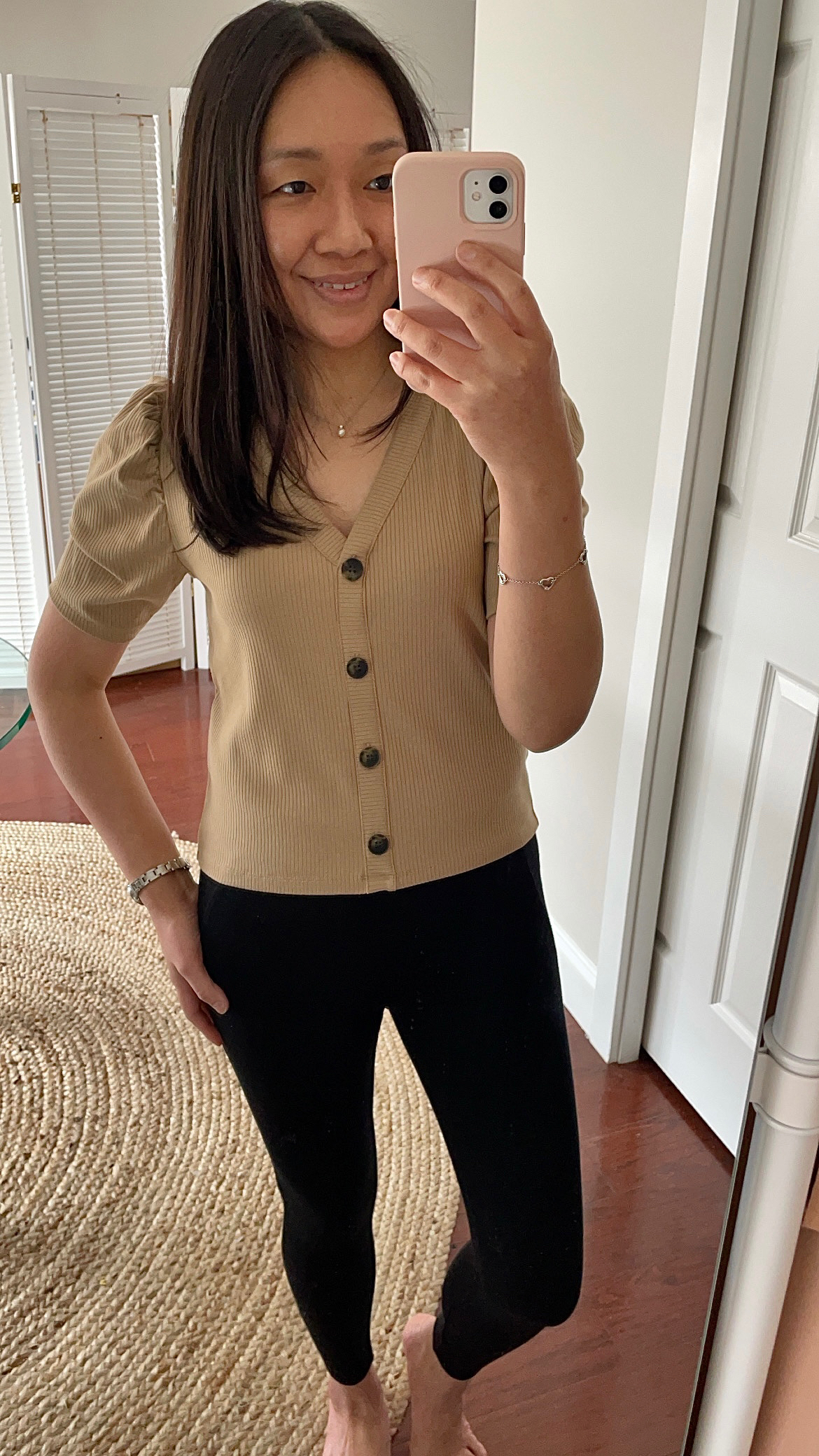 LOFT Ribbed Puff Sleeve Cardigan Top, size S regular