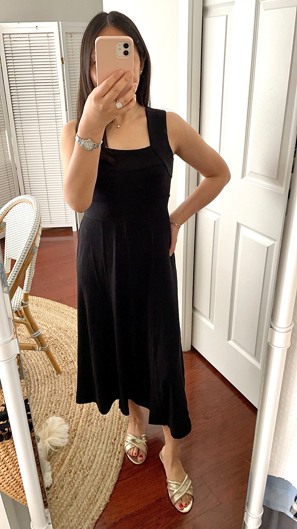 Ann Taylor Ribbed Square Neck Midi Flare Dress, size 0P