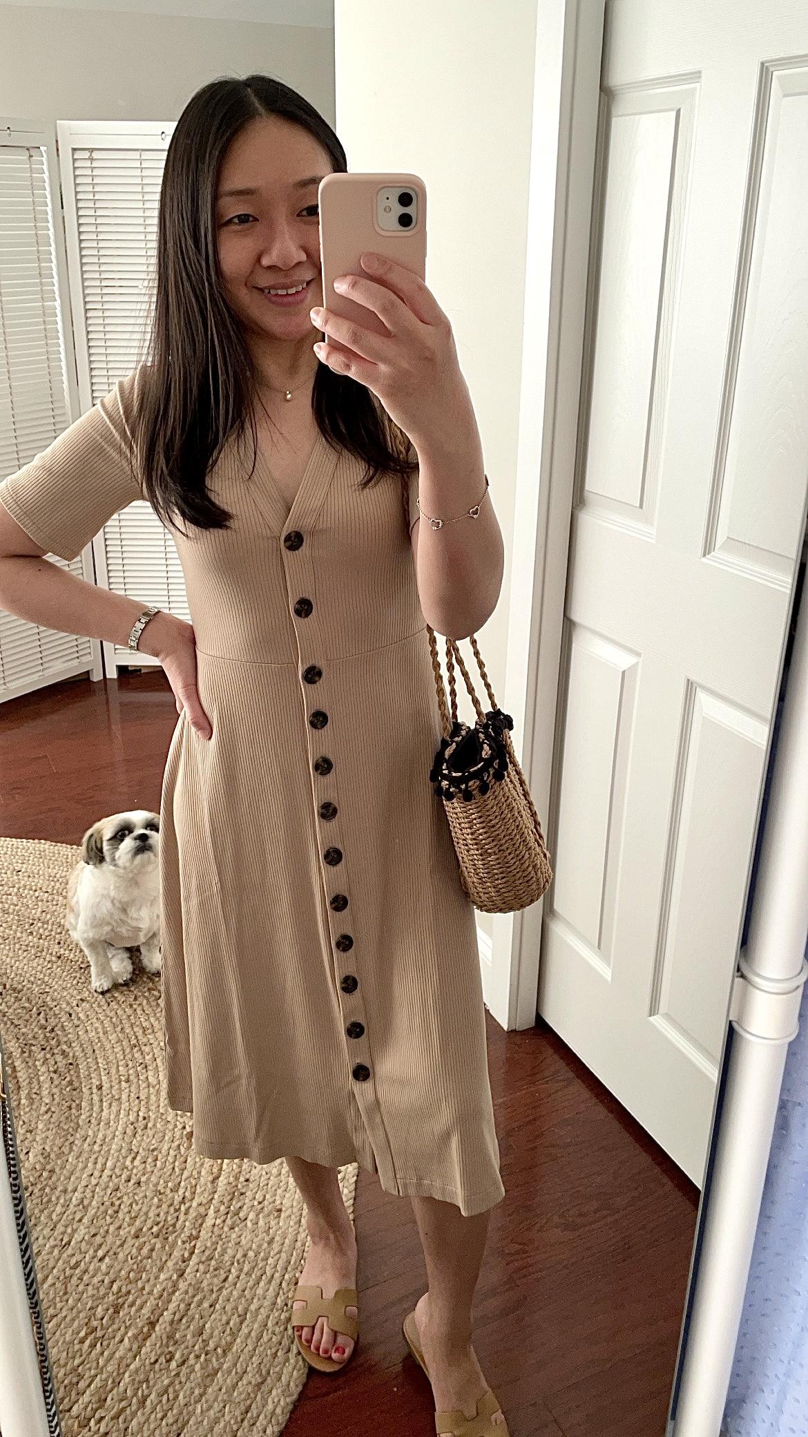 Ann Taylor Ribbed Button Front Midi Dress, size XSP