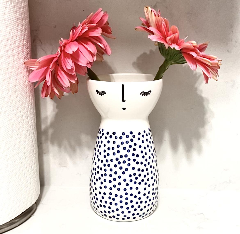 Senliart White Ceramic Vase, Small Flower Vases for Home Décor