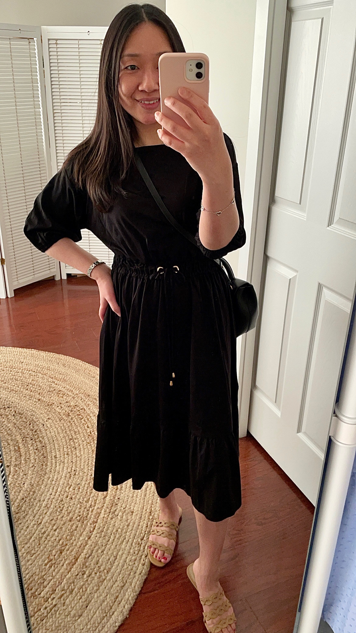 Ann Taylor Drawstring Ruffle Midi Dress, size XSP