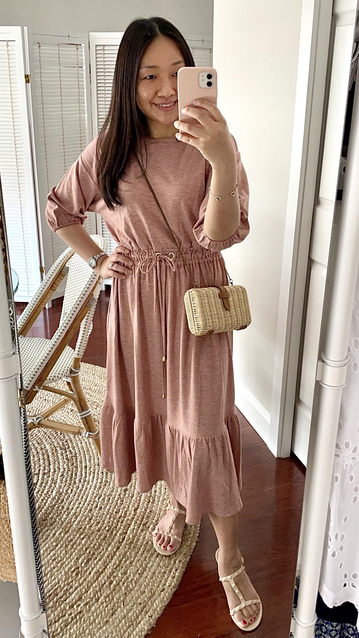 Ann Taylor Dolman Drawstring Midi Dress, size XXSP