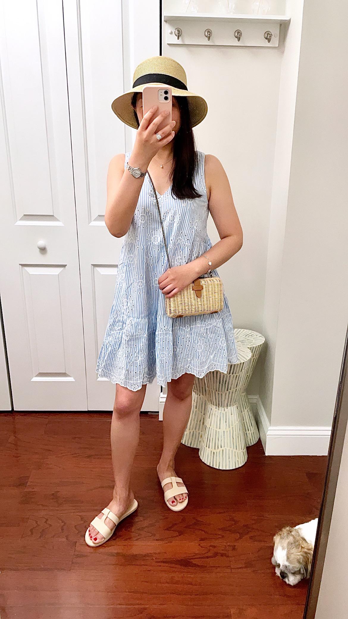 LOFT Eyelet Striped Tiered Swing Dress, size XXS regular