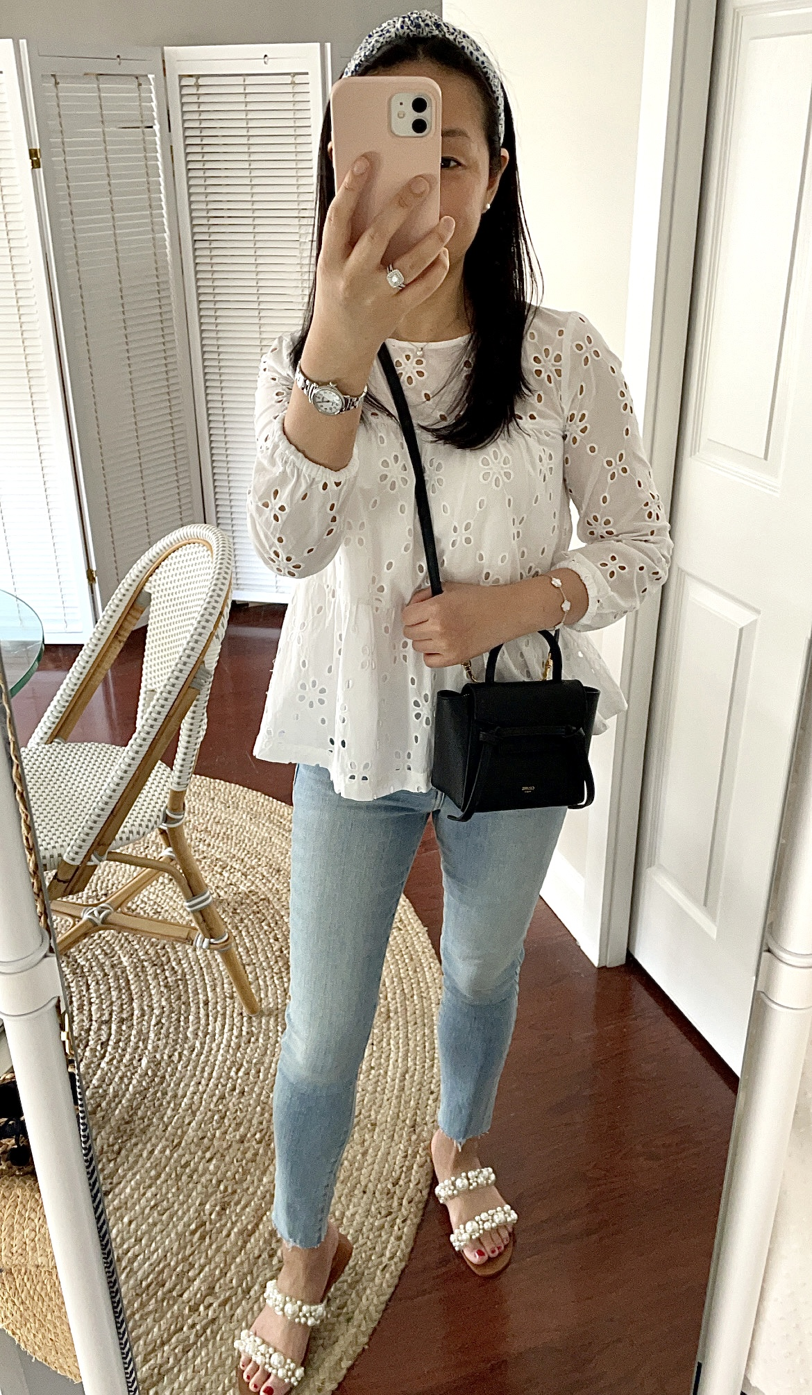 J.Crew Factory Eyelet Tiered Popover Top, size XXS